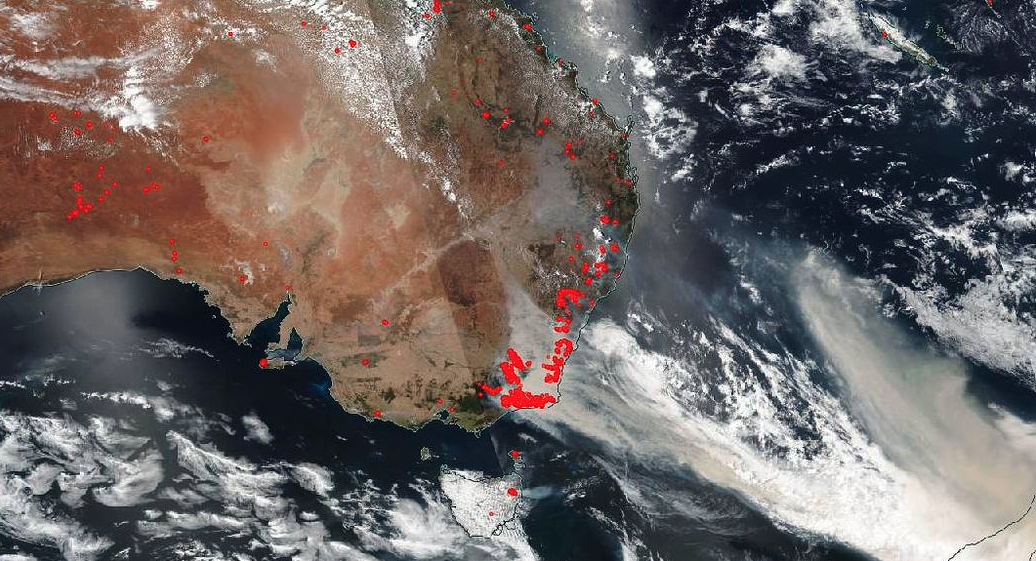 NOAA-NASA's Suomi NPP satellite captured imagery of the fires and the resultant billowing smoke cascading off the edge of Australia on Jan. 01, 2020.