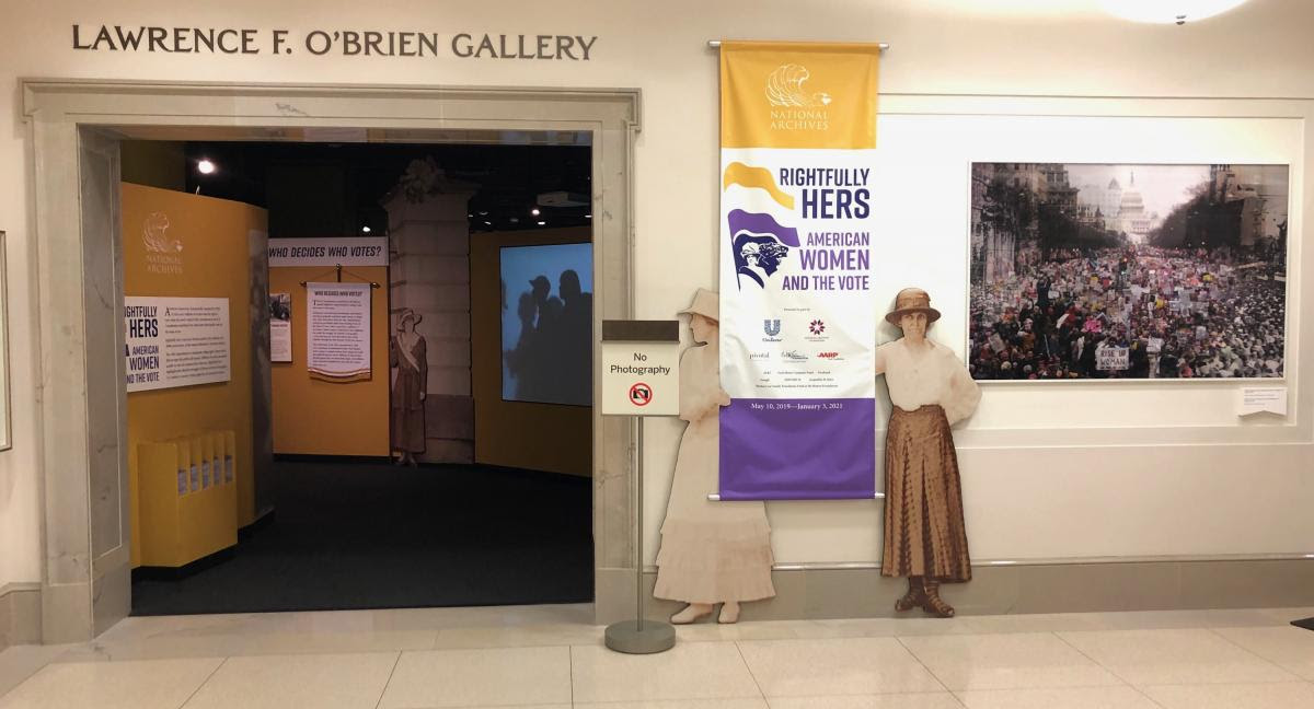Images from the 1913 and 2017 Women's Marches were displayed as a promotional graphic in the elevator lobby outside the entrance to the  Rightfully Hers  exhibit at the National Archives in Washington, DC. The image was removed January 18, 2020 and will be replaced.