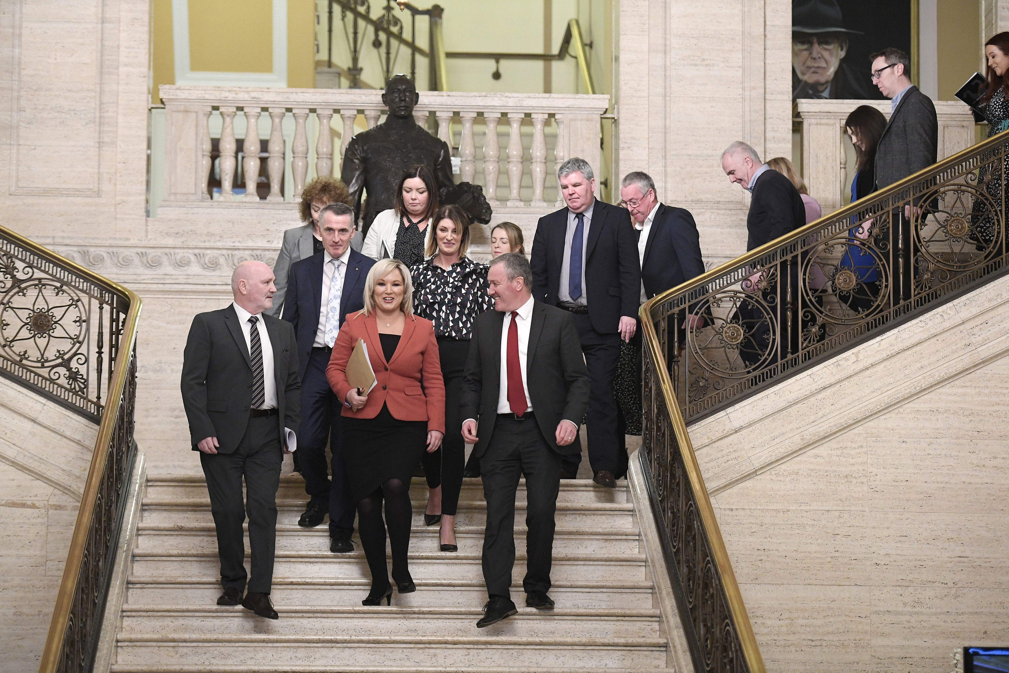 Michelle O'Neill of Sinn Fein leads her party into the chamber at Parliament Buildings, Stormont, Northern Ireland, on Jan. 11, 2020.