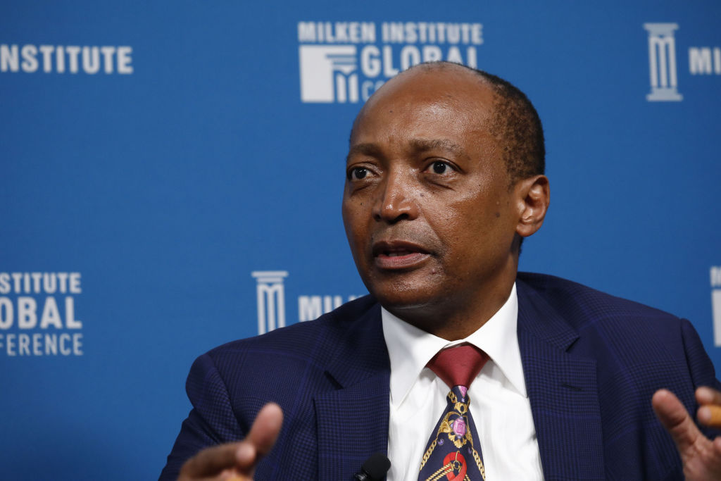 Patrice Motsepe, founder and chairman of African Rainbow Minerals Ltd., speaks during the Milken Institute Global Conference in Beverly Hills, California on April 30, 2019.