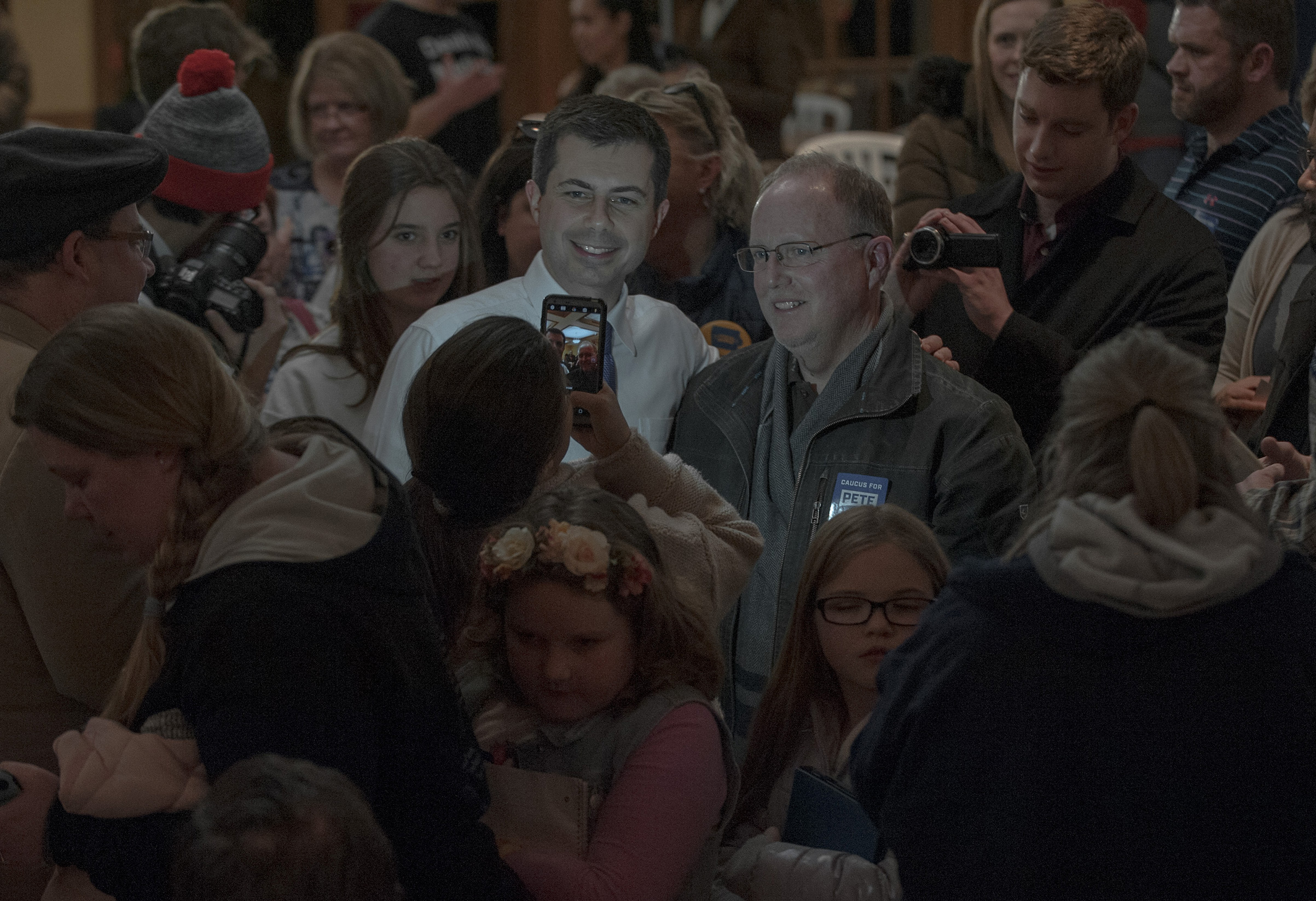 Buttigieg meets supporters at a Town Hall in Mason City, Iowa, on Jan. 29.