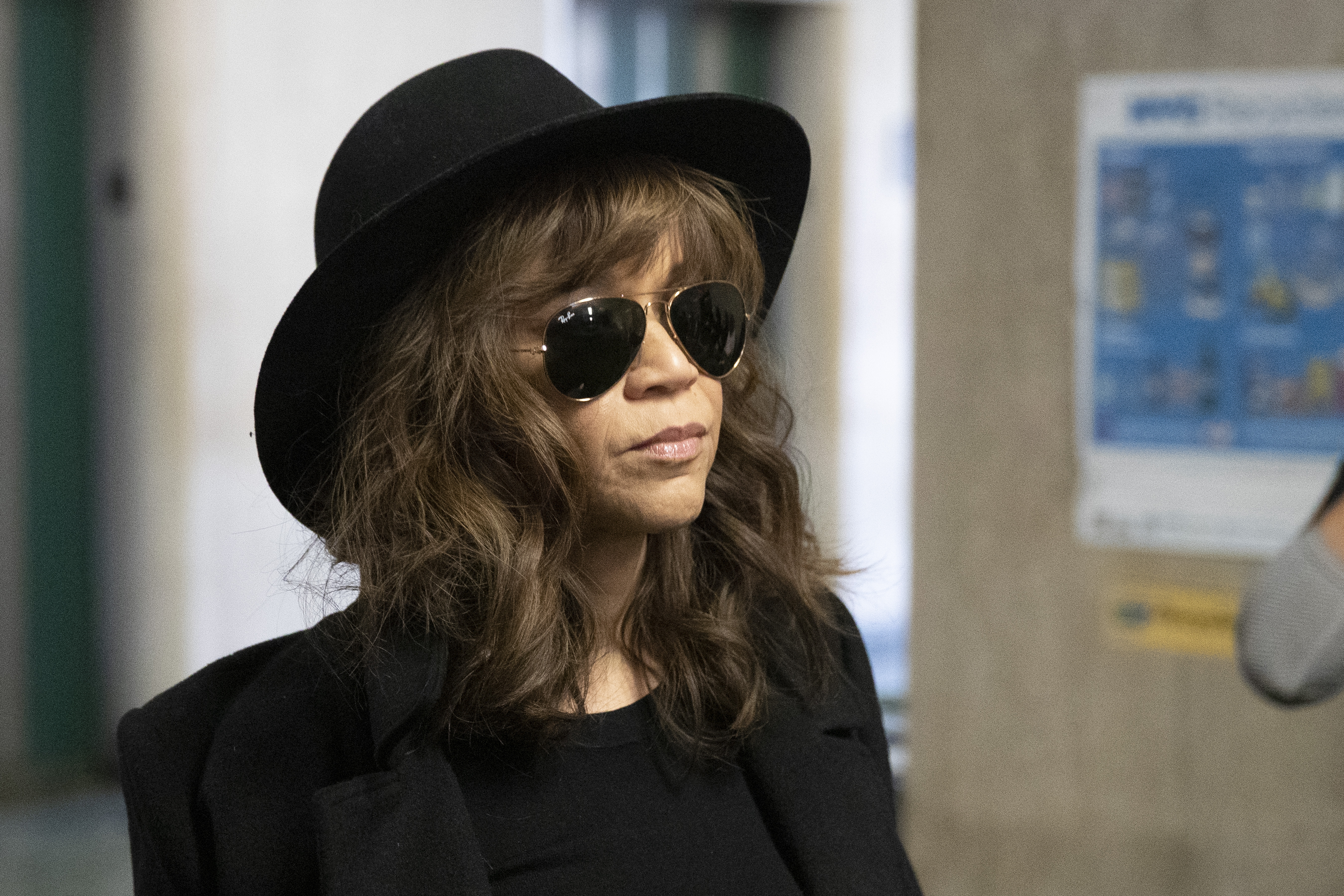 Actress Rosie Perez arrives for Harvey Weinstein's rape trial, Friday, Jan. 24, 2020 in New York.