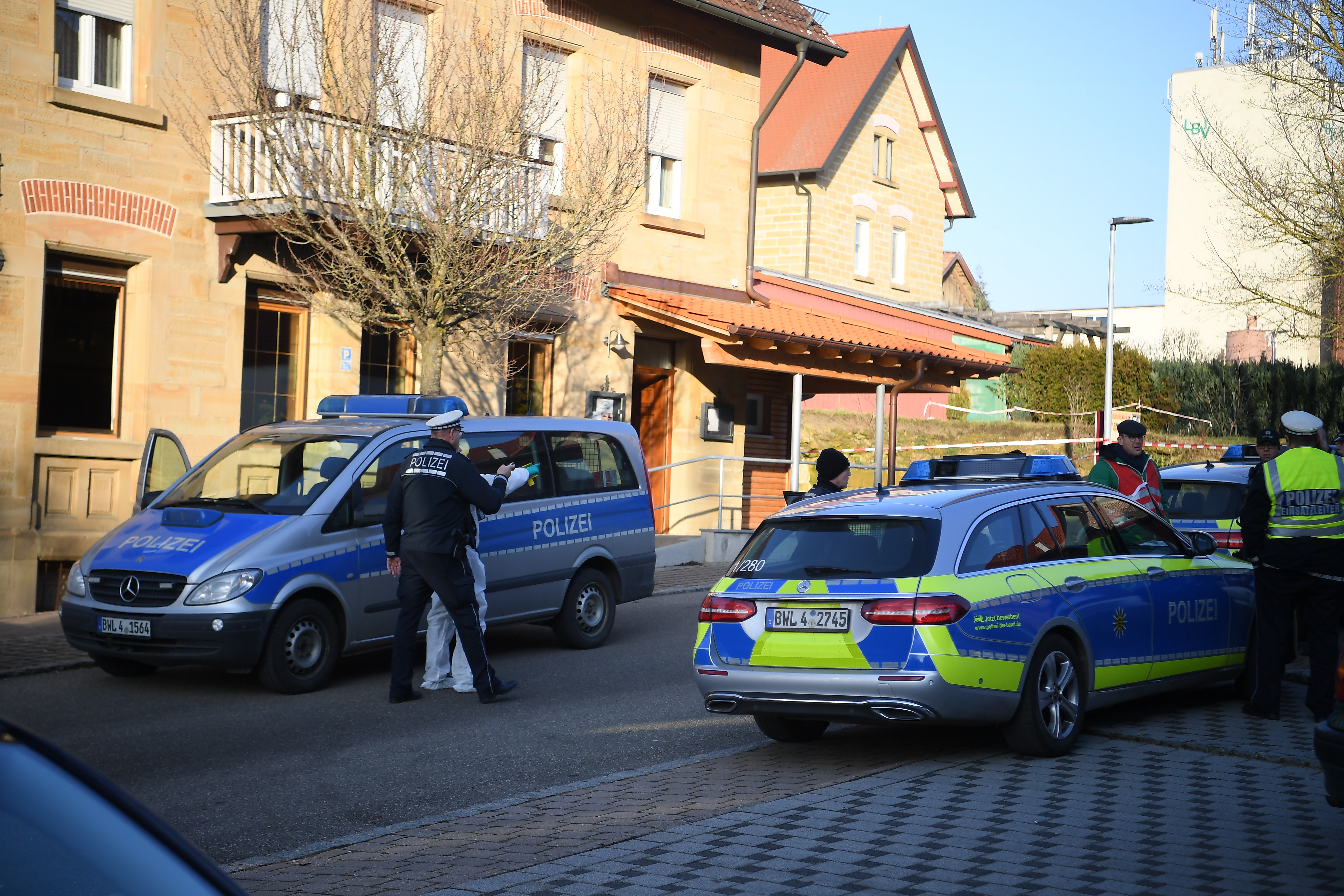 Police at the scene after shots were fired in Rot Am See, Germany on Jan. 24, 2020.