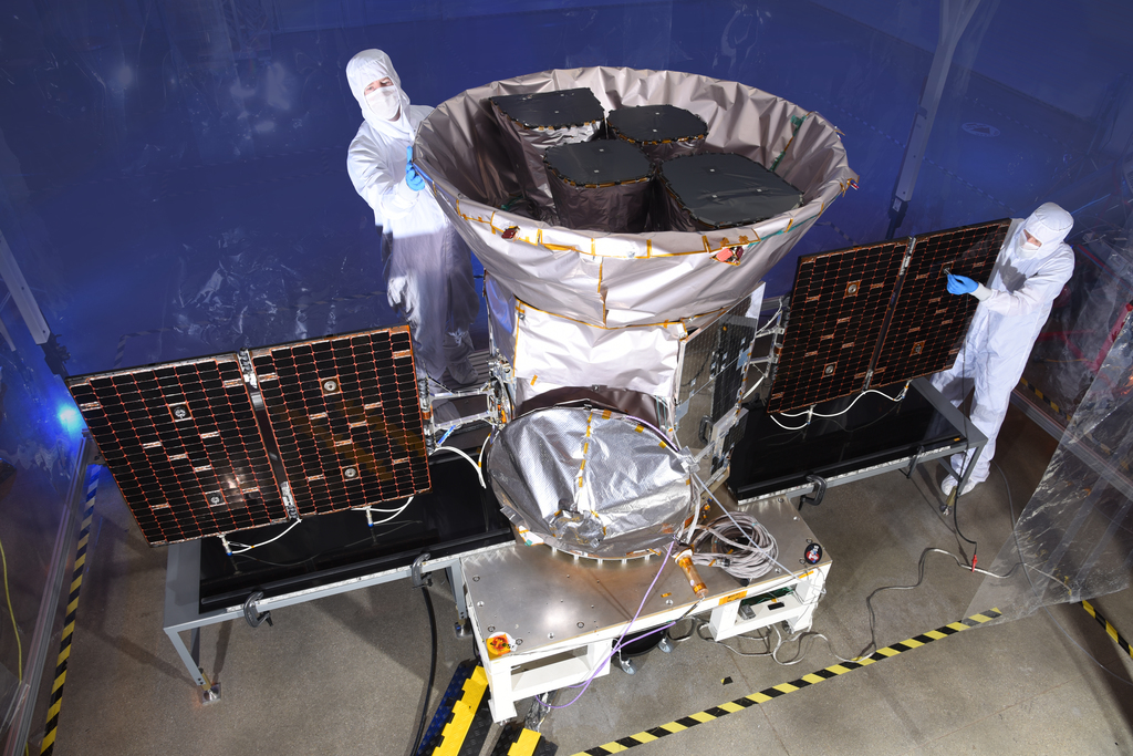The fully integrated Transiting Exoplanet Survey Satellite (TESS), which launched in 2018 to find thousands of new planets orbiting other stars.