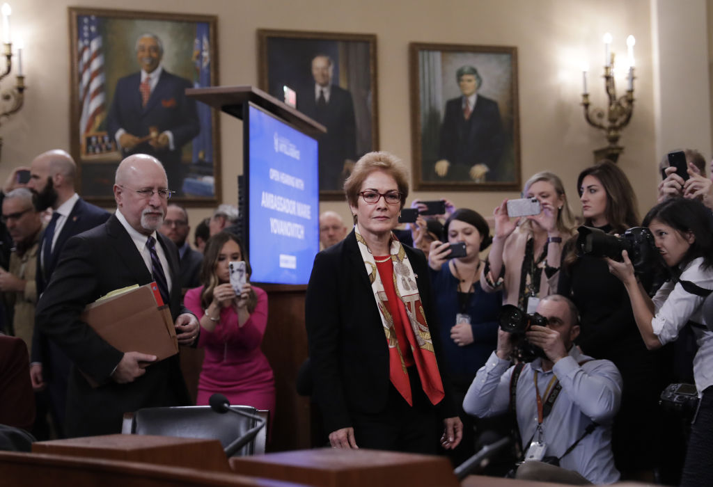 Marie Yovanovitch, former U.S. Ambassador to Ukraine, center, arrives for a House Intelligence Committee impeachment inquiry hearing in Washington, D.C., U.S., on Friday, Nov. 15, 2019.