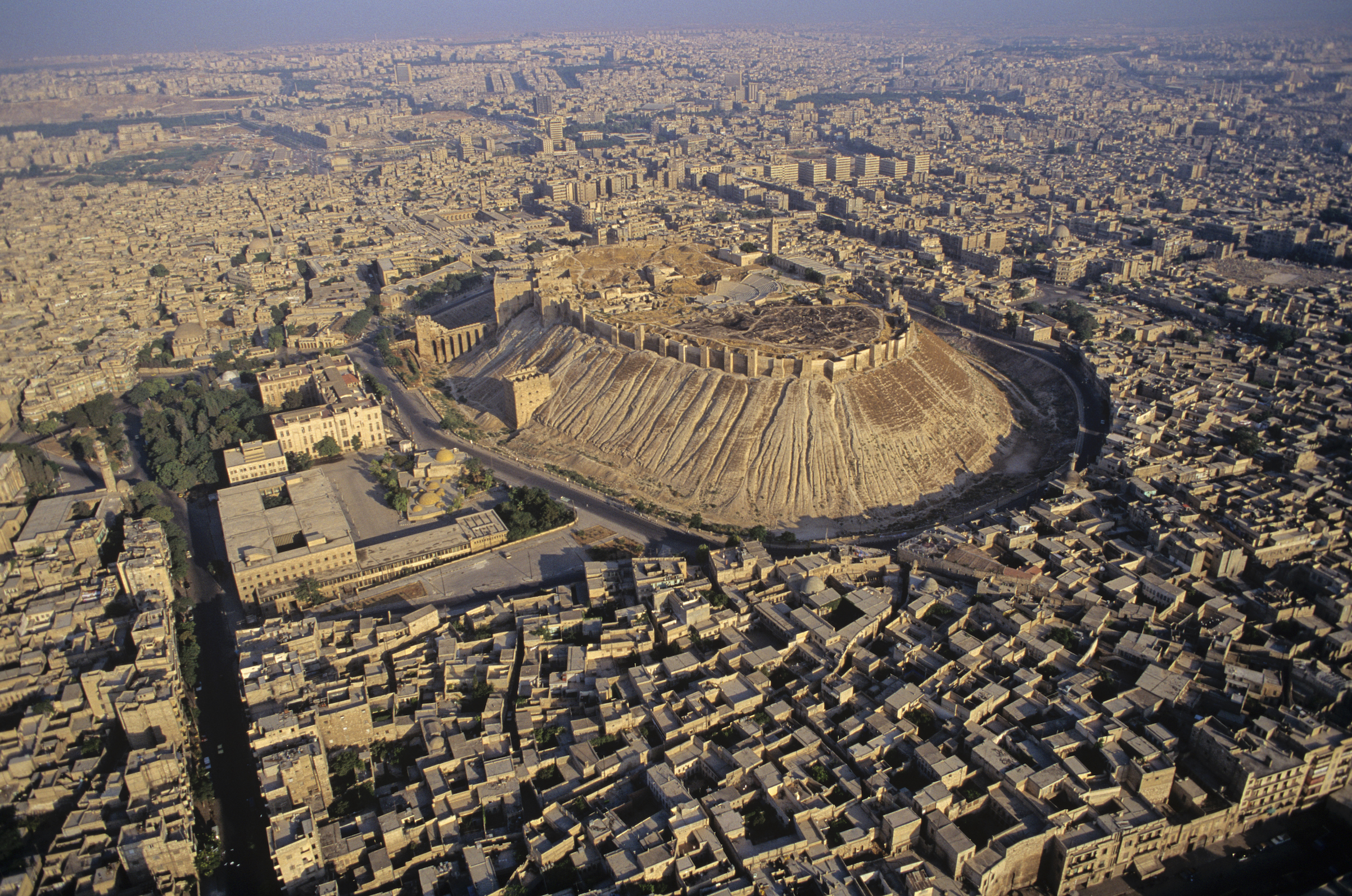 Aerial view of the citadel in the ancient city of Aleppo, Syria