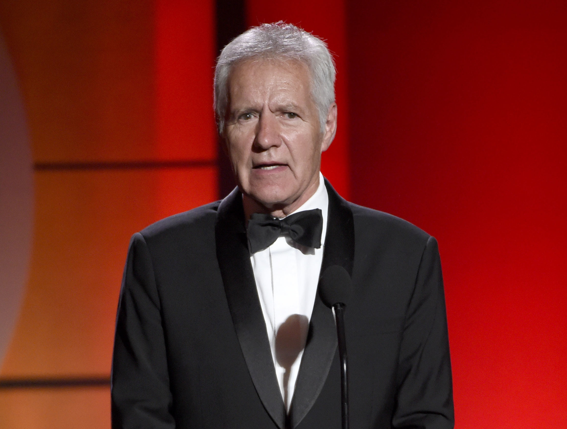 Alex Trebek speaks at the 44th annual Daytime Emmy Awards at the Pasadena Civic Center in Pasadena, Calif., on April 30, 2017.
