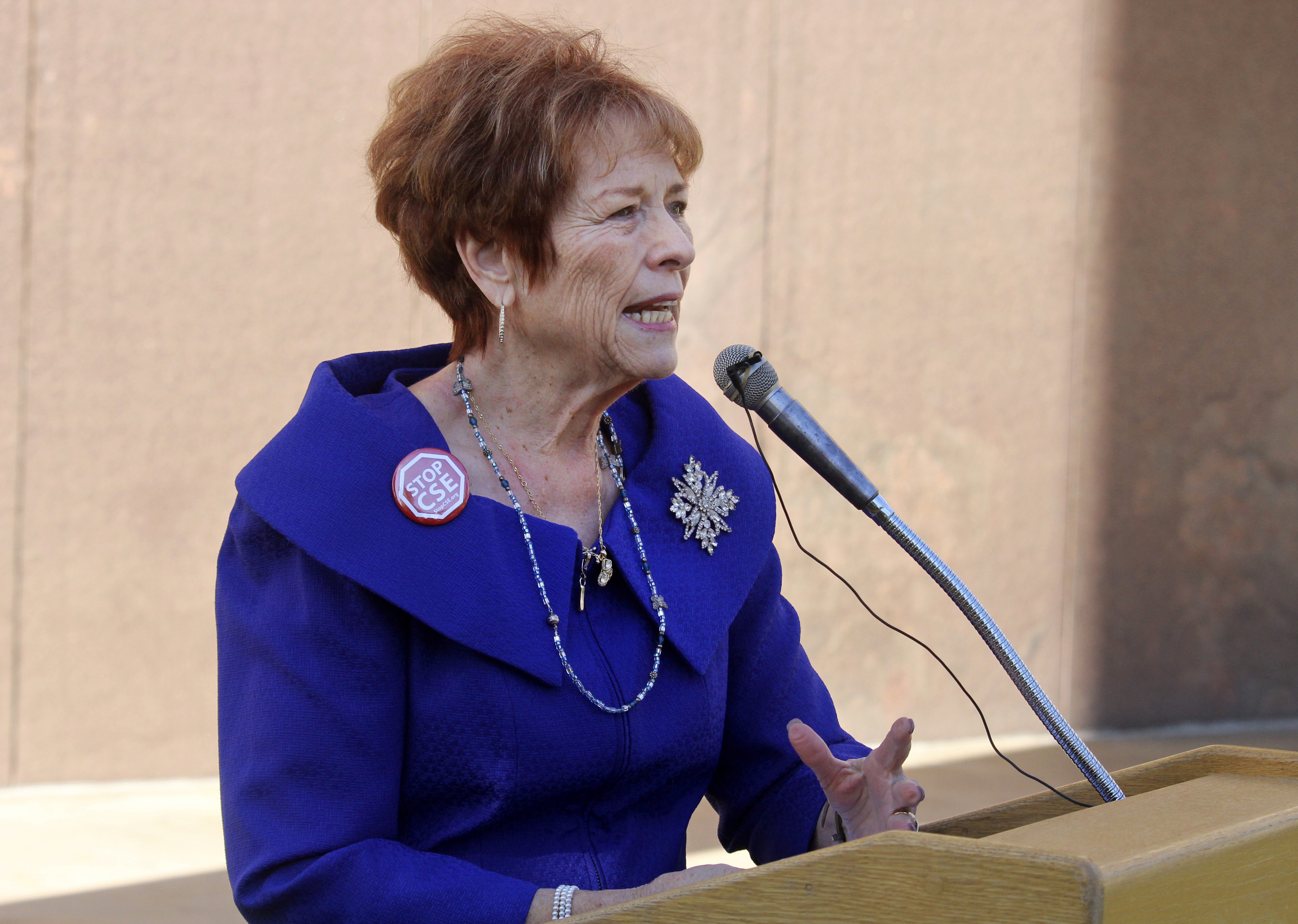 Republican state Sen. Sylvia Allen speaks to opponents of Arizona's current sex education laws at the state Capitol in Phoenix on Jan. 14, 2020.