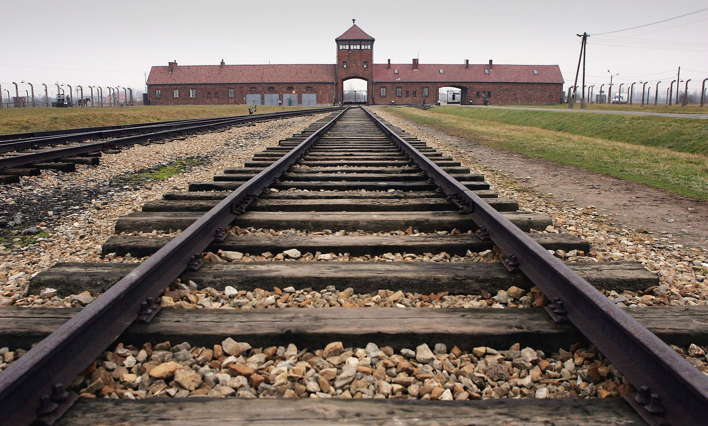 The railway tracks leading to the main gates at Auschwitz, seen Dec. 10, 2004.