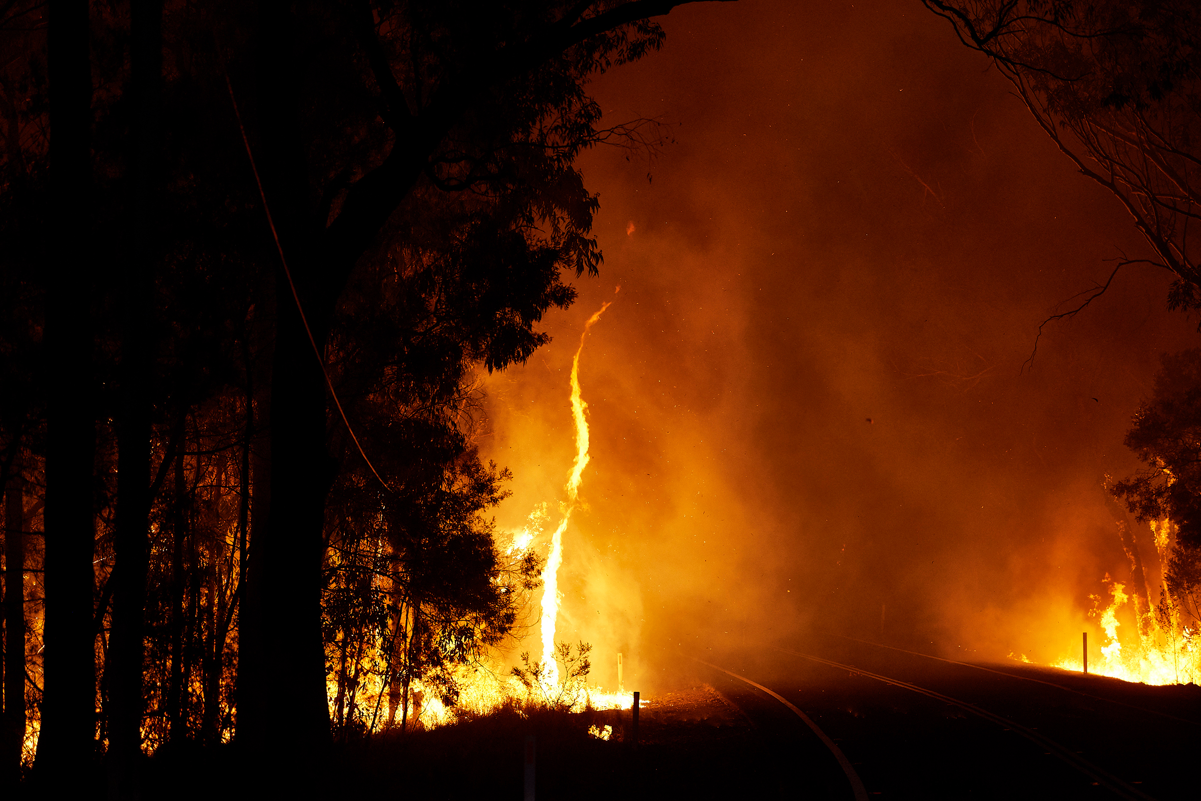 A bushfire along Putty Road in Colo Heights, New South Wales, on Nov. 15, 2019.