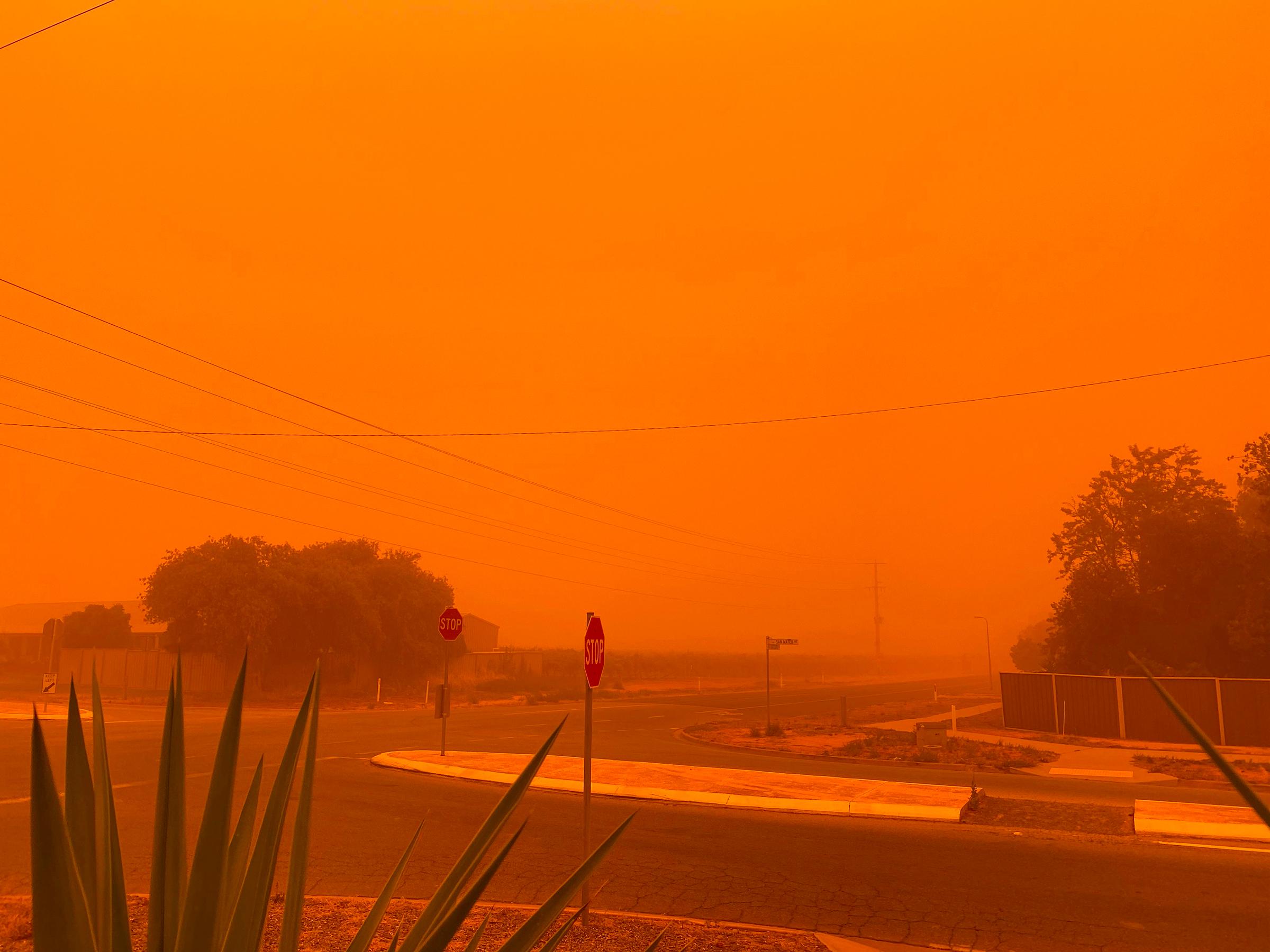 The sky turned orange in Mildura on Nov. 21, 2019.