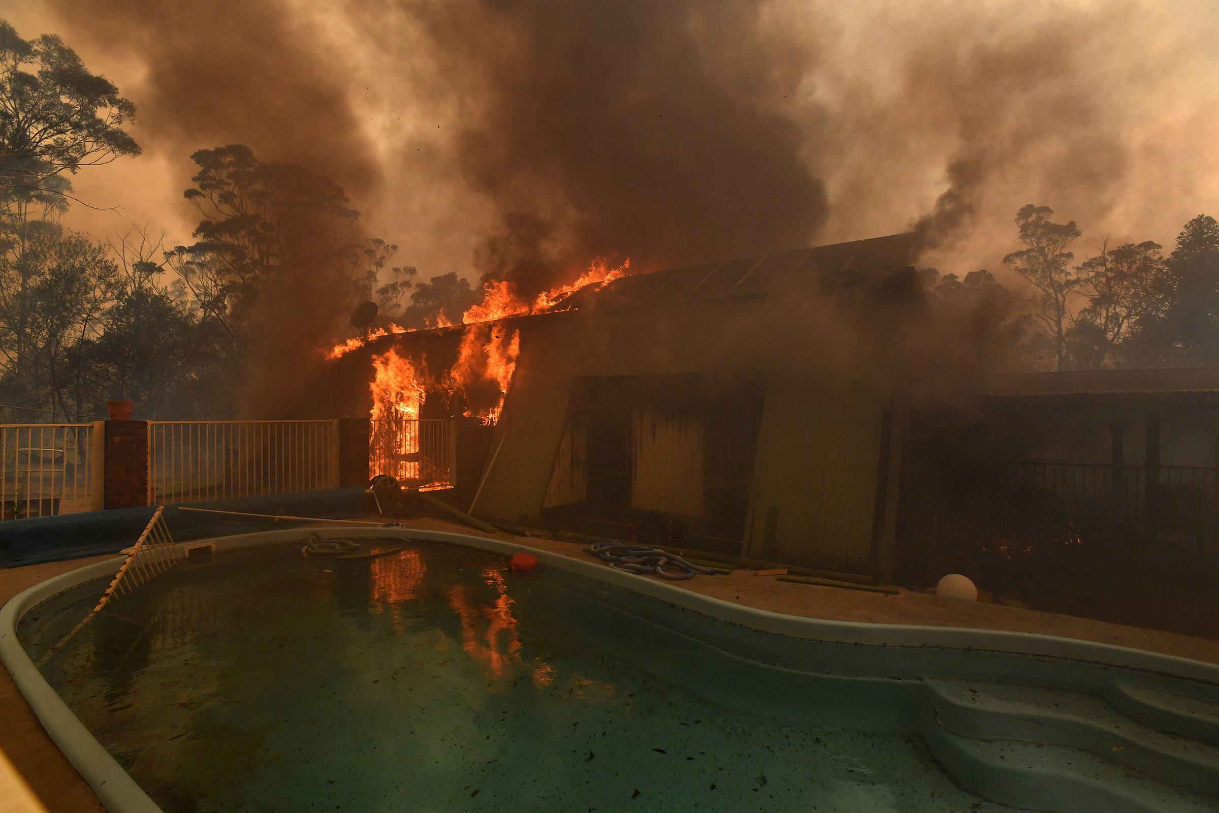 A home lost to a bushfire in Buxton, as the Green Wattle Creek Fire threatens a number of communities, on Dec. 19, 2019.