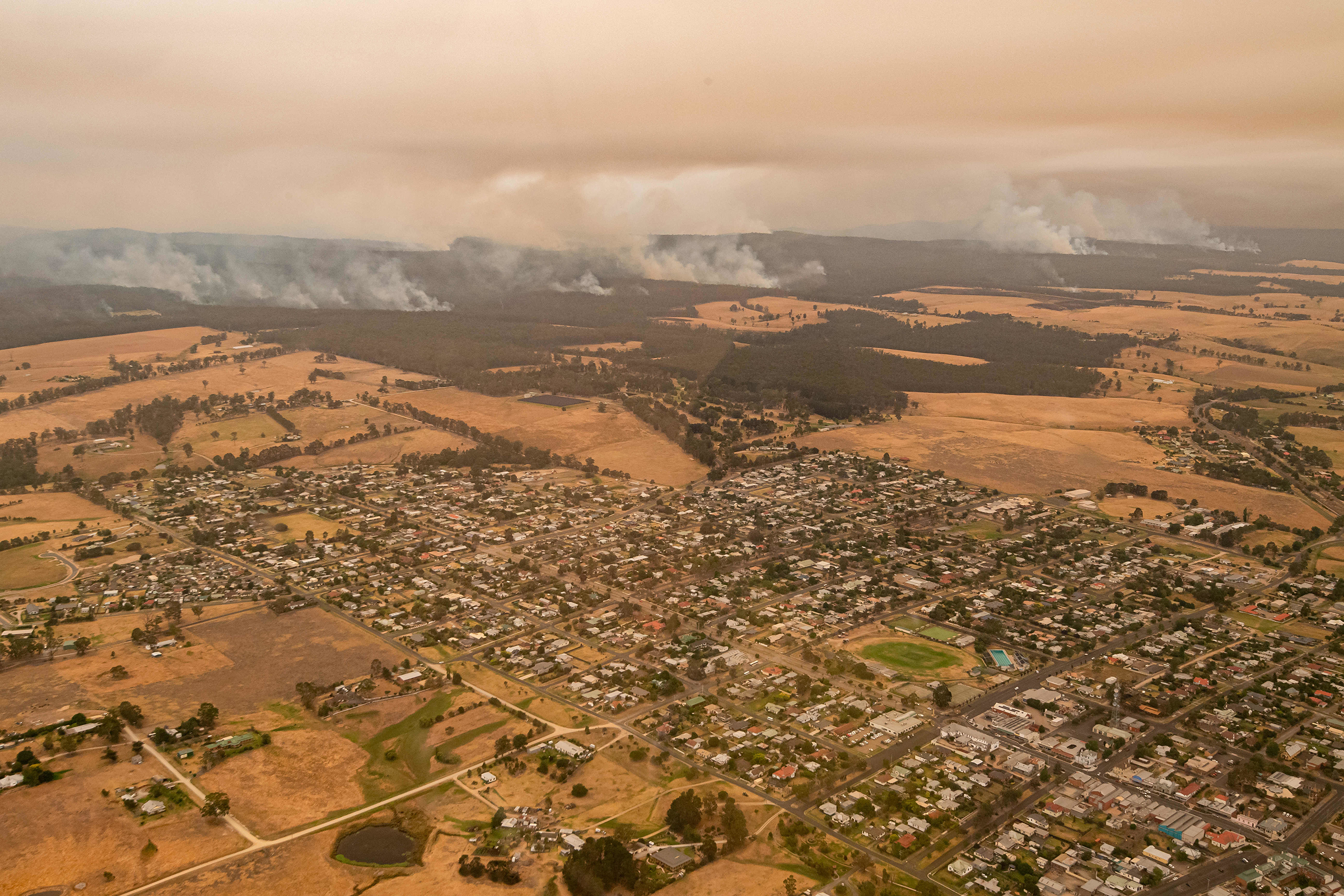 The area of Orbost, under threat from the East Gippsland fires, on Jan. 1.