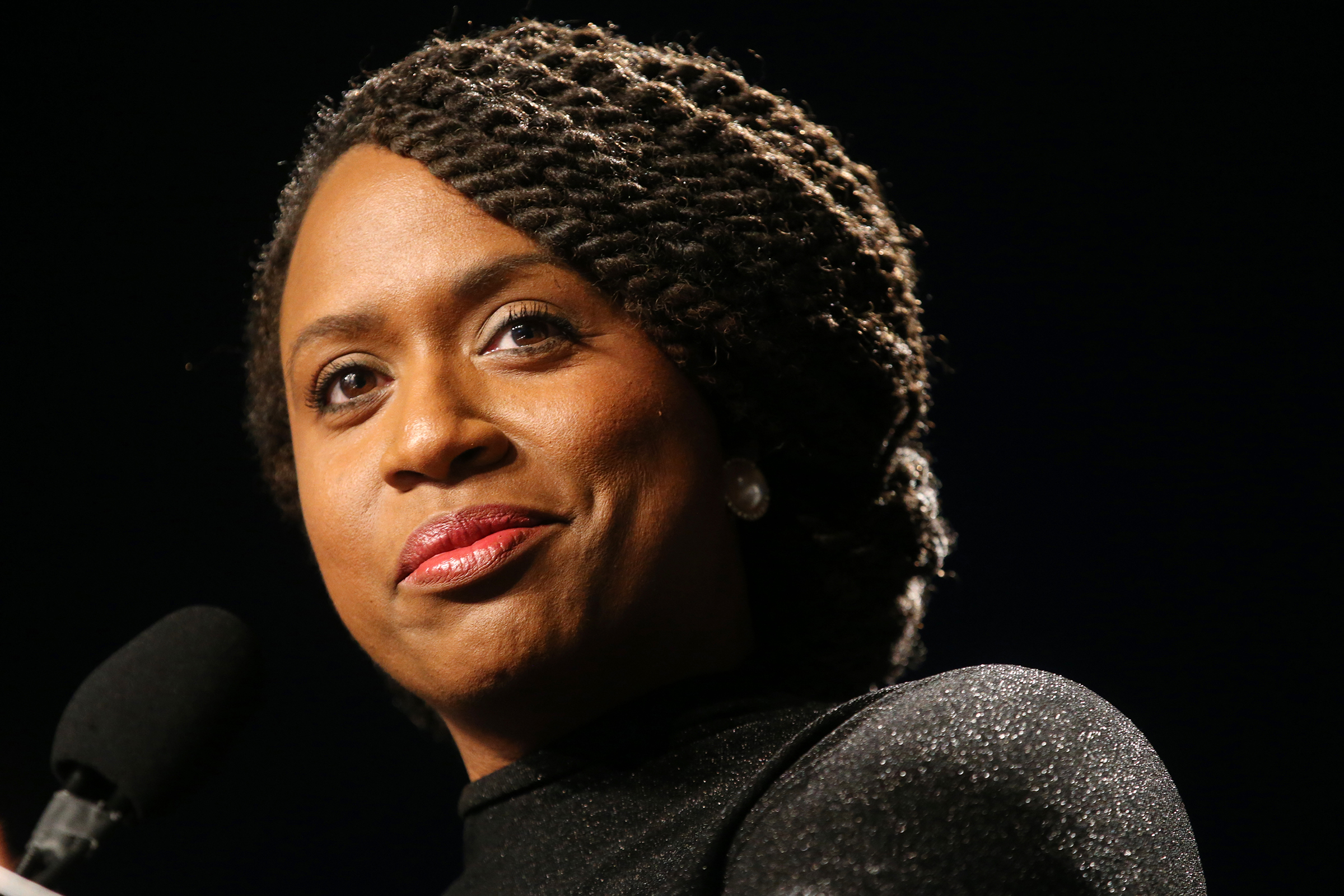 Congresswoman Ayanna Pressley addresses the crowd during the 49th Annual Martin Luther King Jr. Memorial Breakfast at the Boston Convention and Exhibition Center in Boston on Jan. 21, 2019.