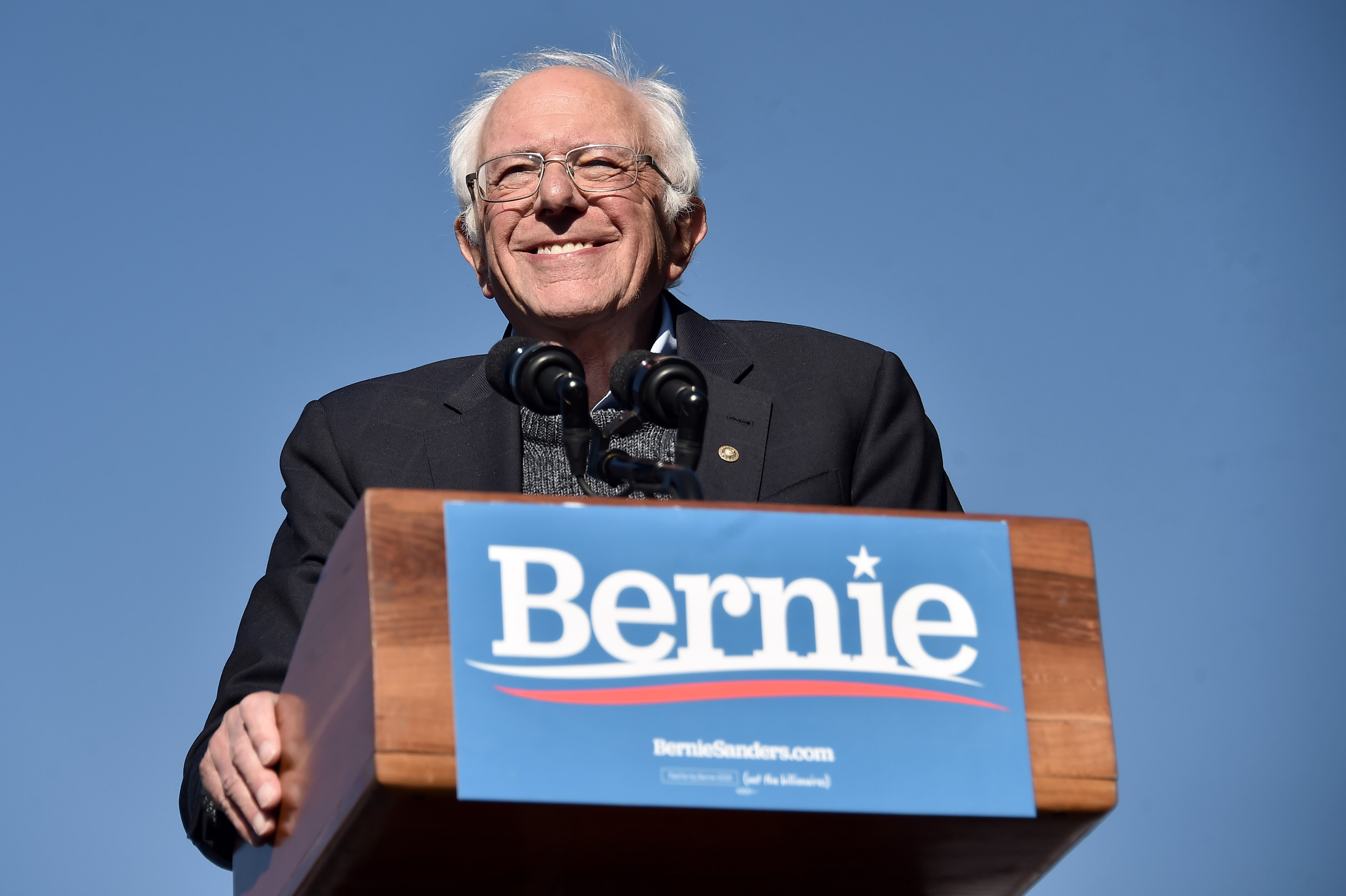 Bernie Sanders speaks during a campaign rally in Queensbridge Park on Oct. 19, 2019 in New York City.