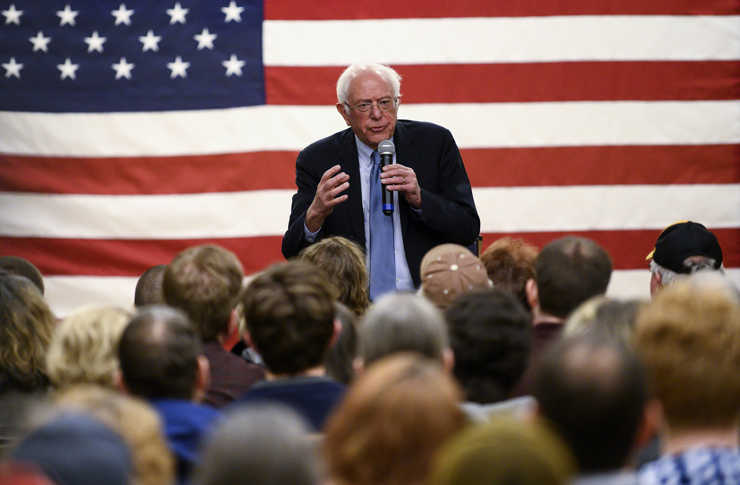 Democratic presidential candidate Sen. Bernie Sanders speaks at town hall at the National Motorcycle Museum in Anamosa, Iowa, on Jan. 3, 2020.