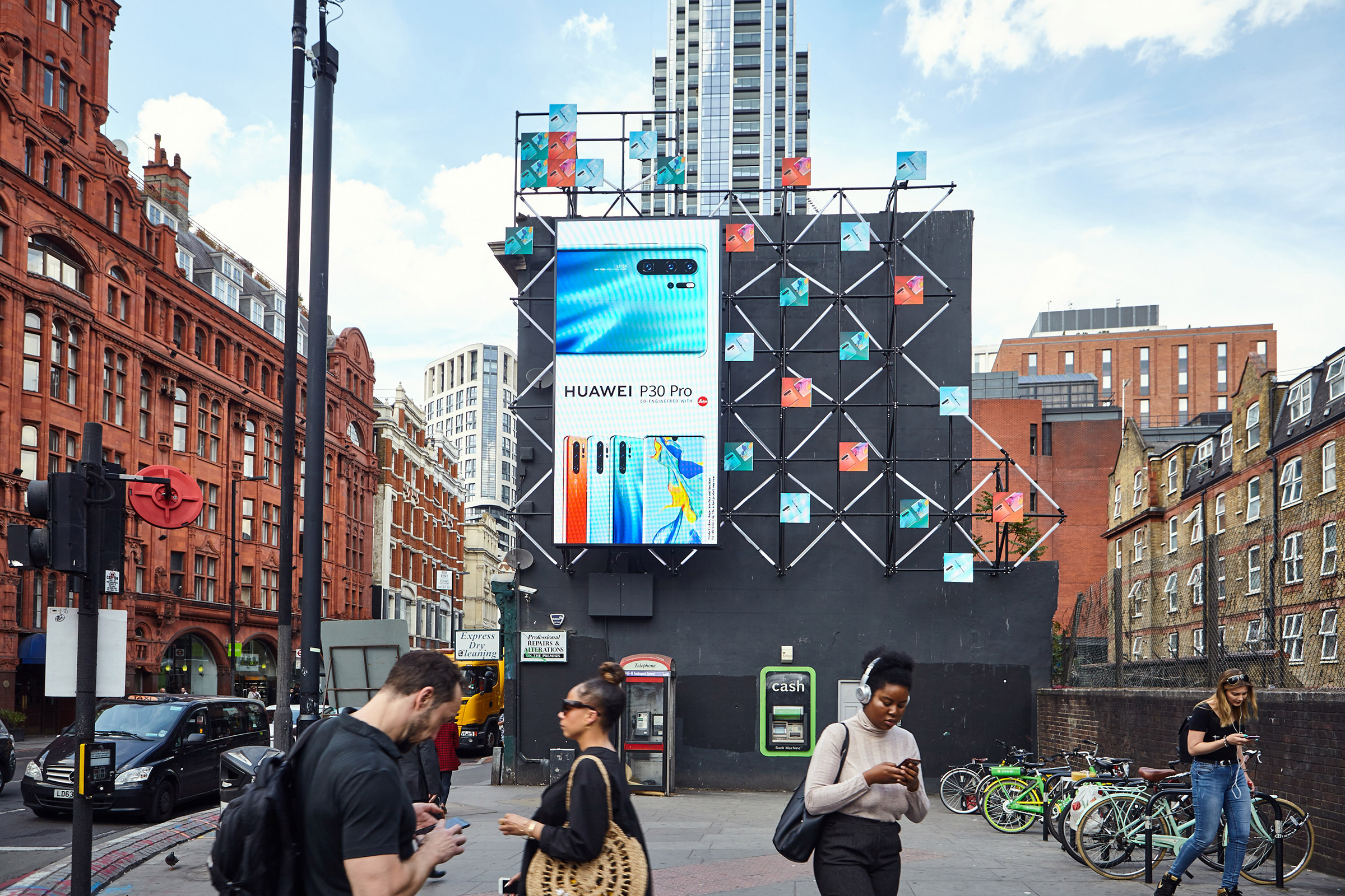 A Huawei advertisement on a billboard in London, May, 23, 2019.