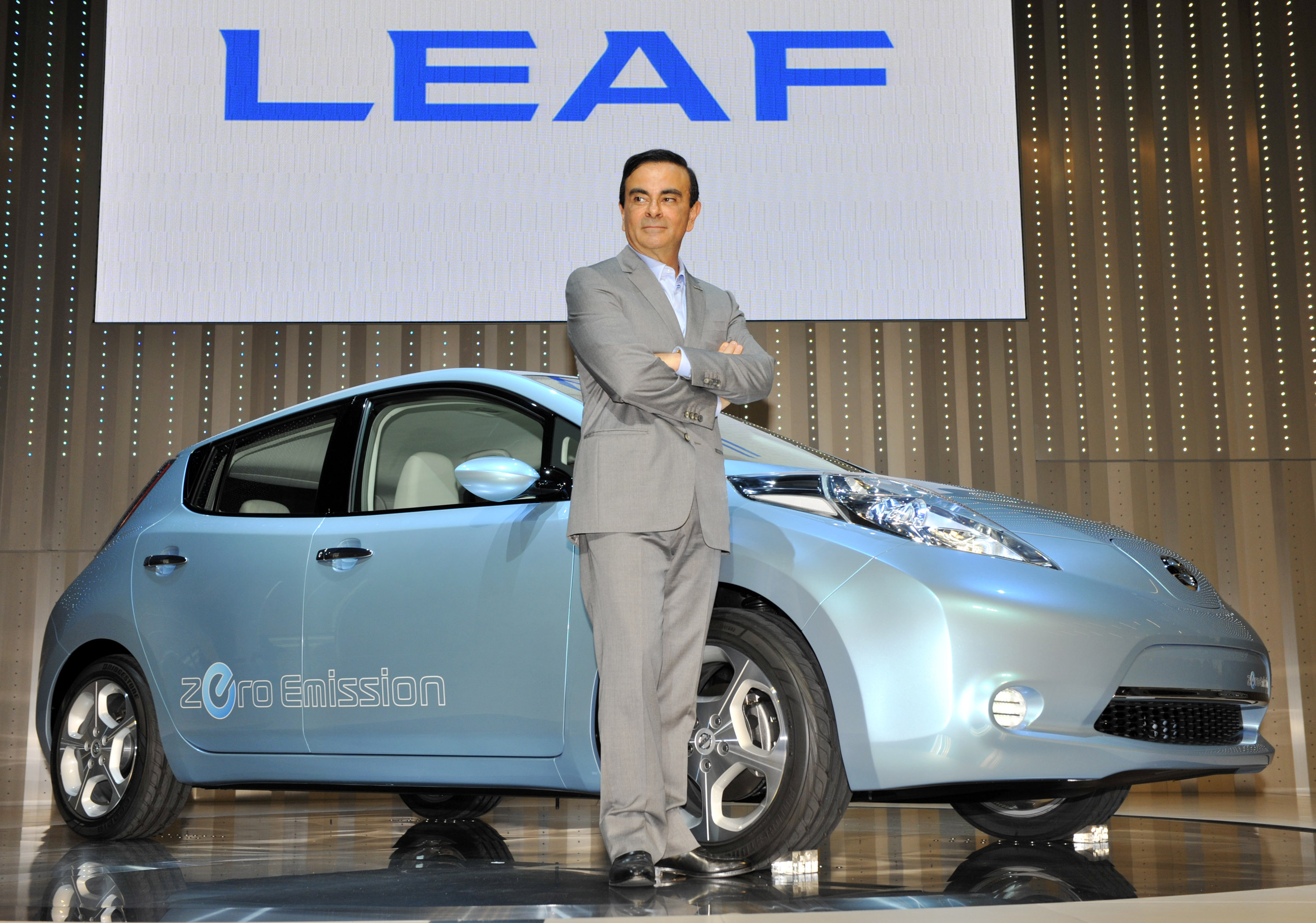 Former president and chief executive officer of Nissan, Carlos Ghosn, introduces the  Leaf  electric vehicle on Aug. 2, 2009, in Yokohama, Japan.