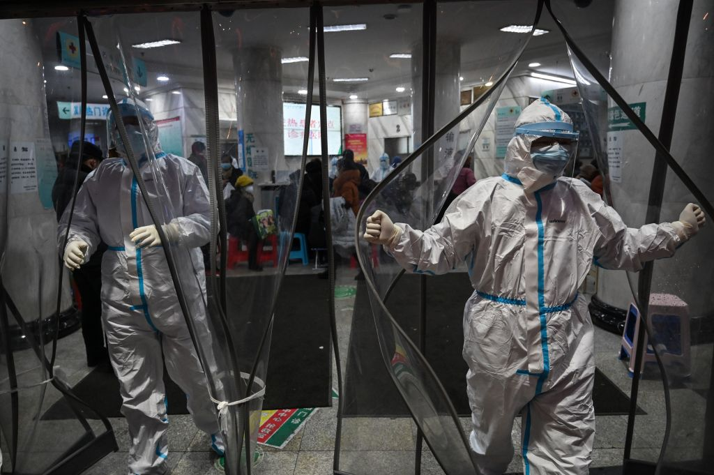 Medical staff members wearing protective clothing at Wuhan Red Cross Hospital on Jan. 25, 2020.