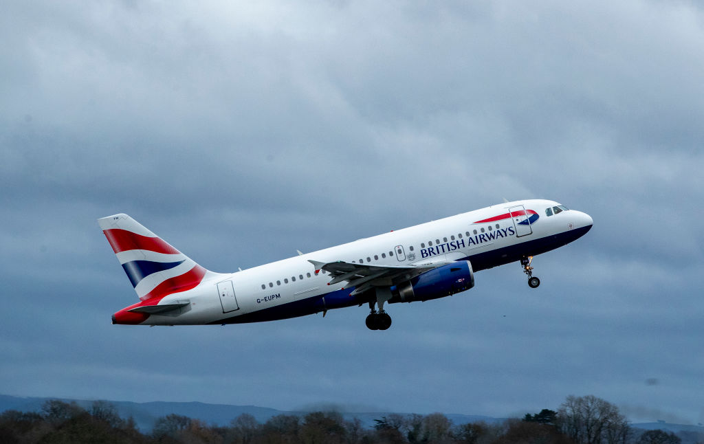 A British Airways Airbus takes off from Manchester Airport on Jan. 13, 2020.