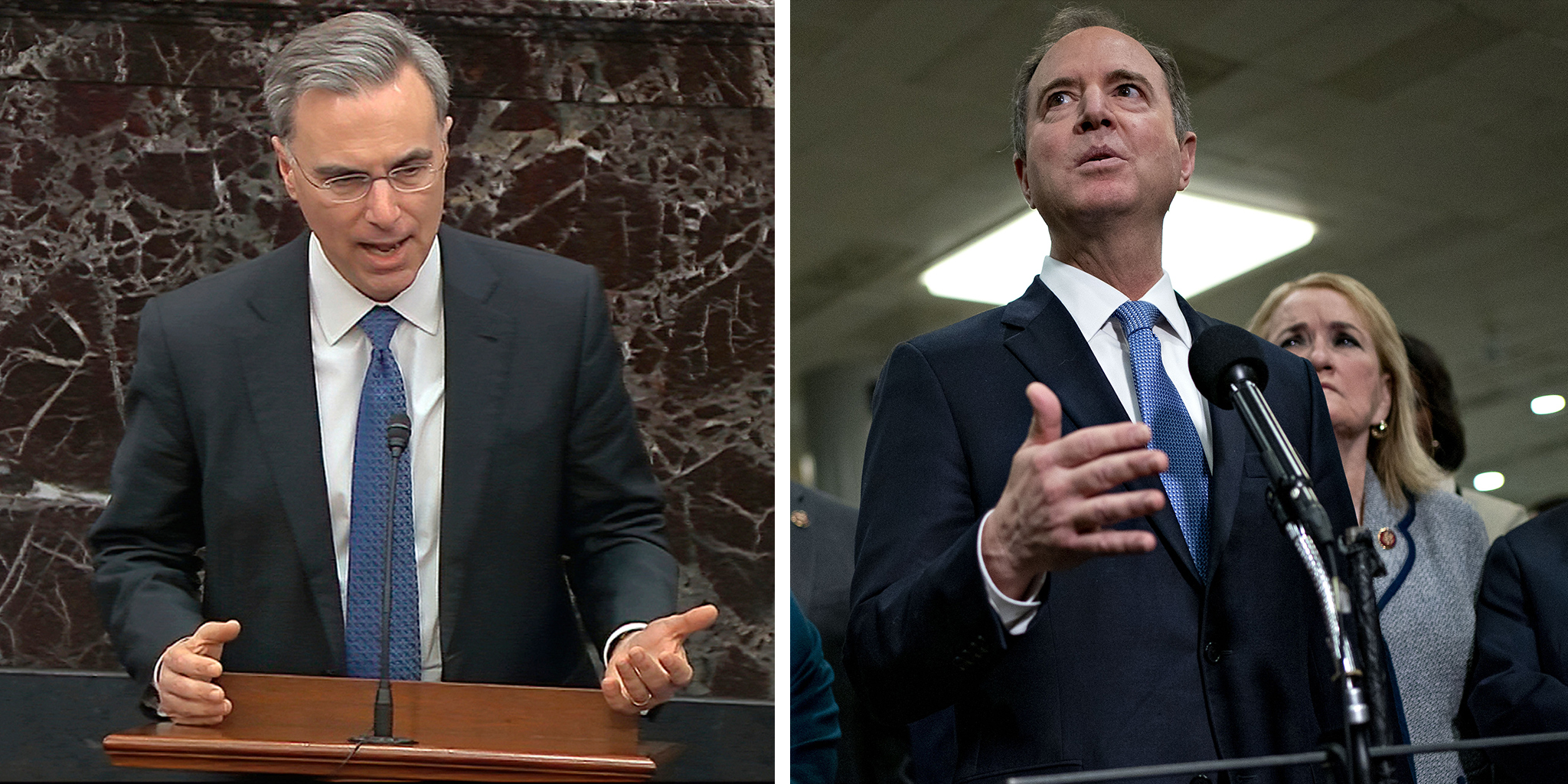 White House counsel Pat Cipollone and Representative Adam Schiff