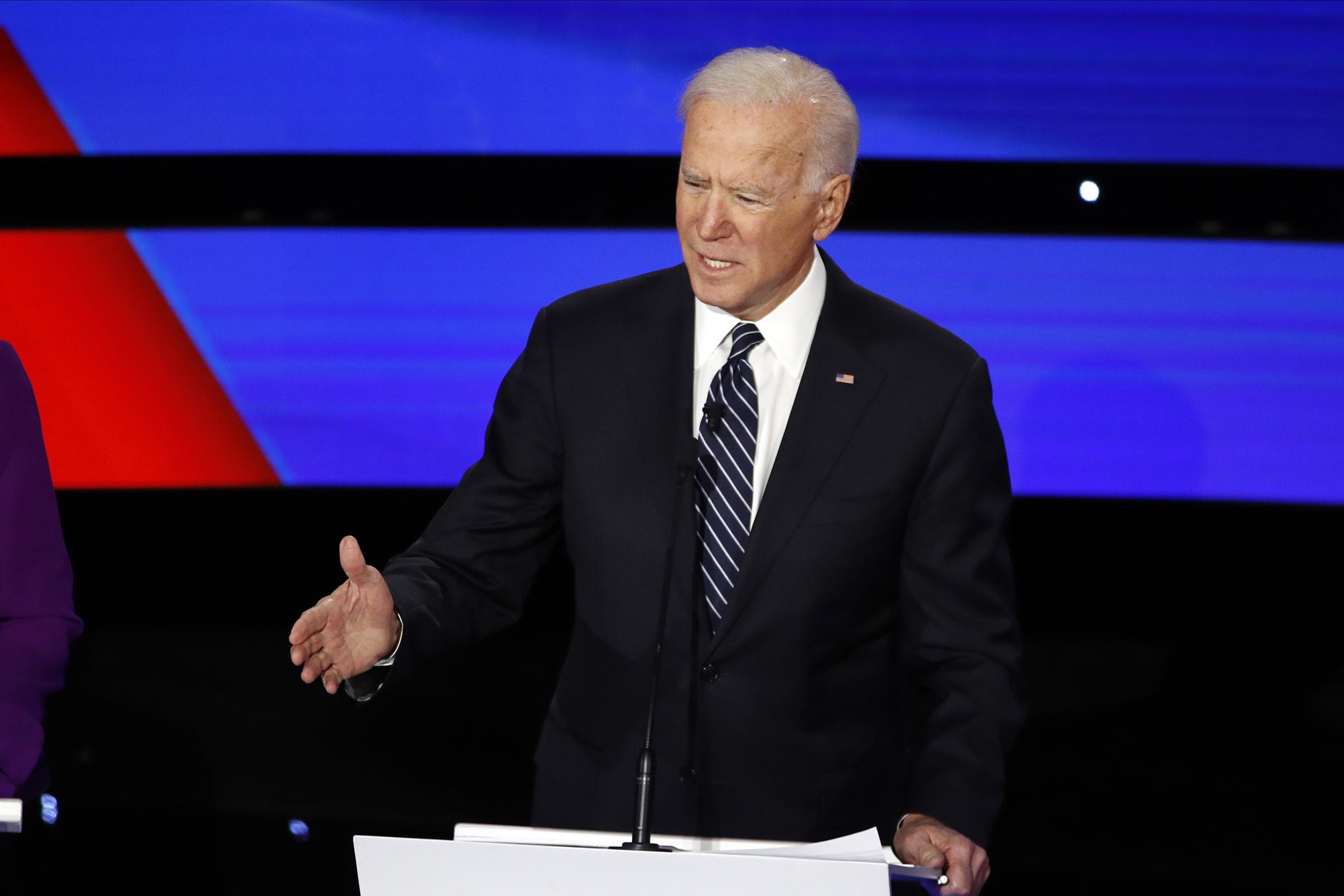 Democratic presidential candidate former Vice President Joe Biden speaks during a Democratic presidential primary debate in Des Moines, Iowa on Jan. 14, 2020.