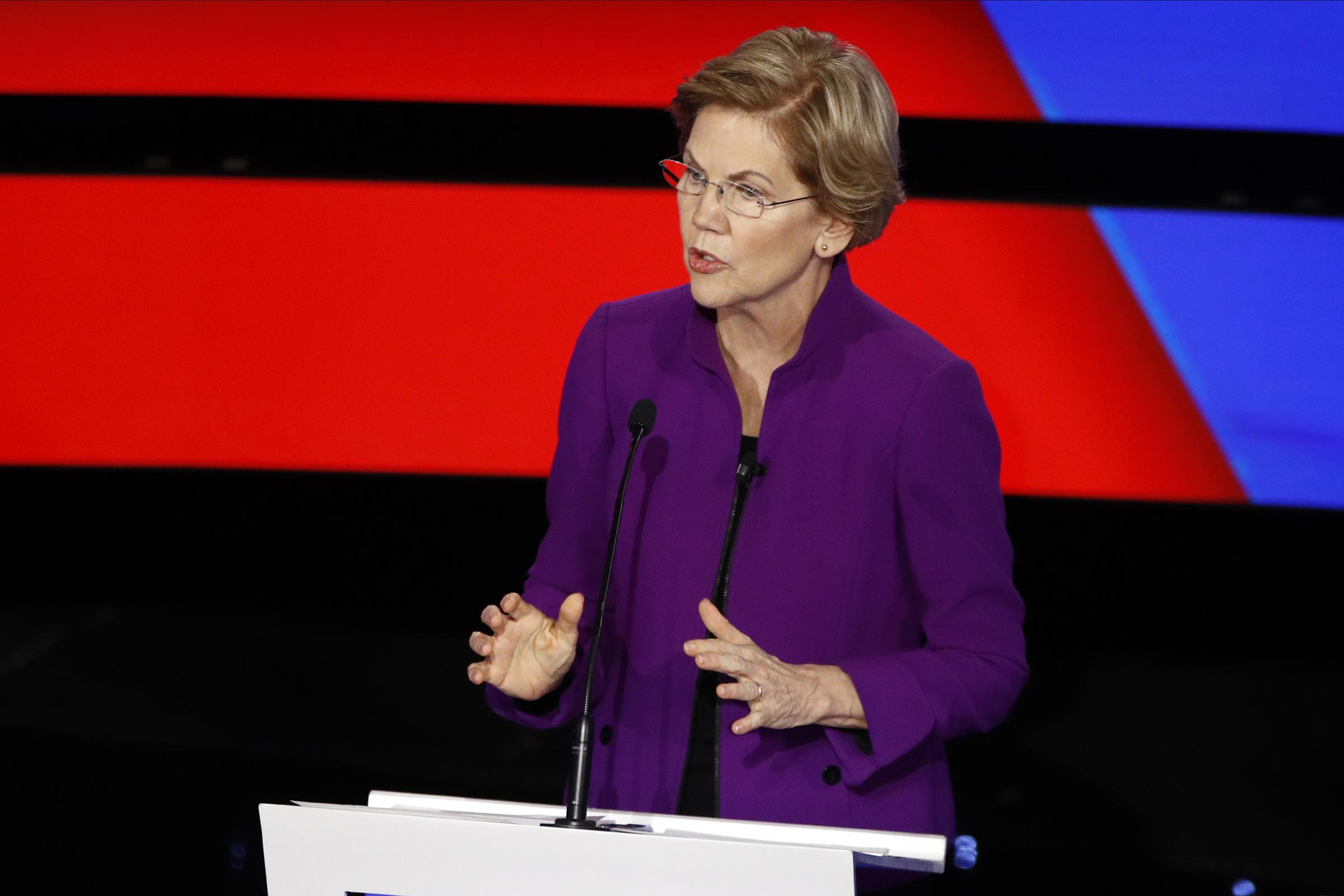 Democratic presidential candidate Sen. Elizabeth Warren, D-Mass., speaks during a Democratic presidential primary debate in Des Moines, Iowa on Jan. 14, 2020.