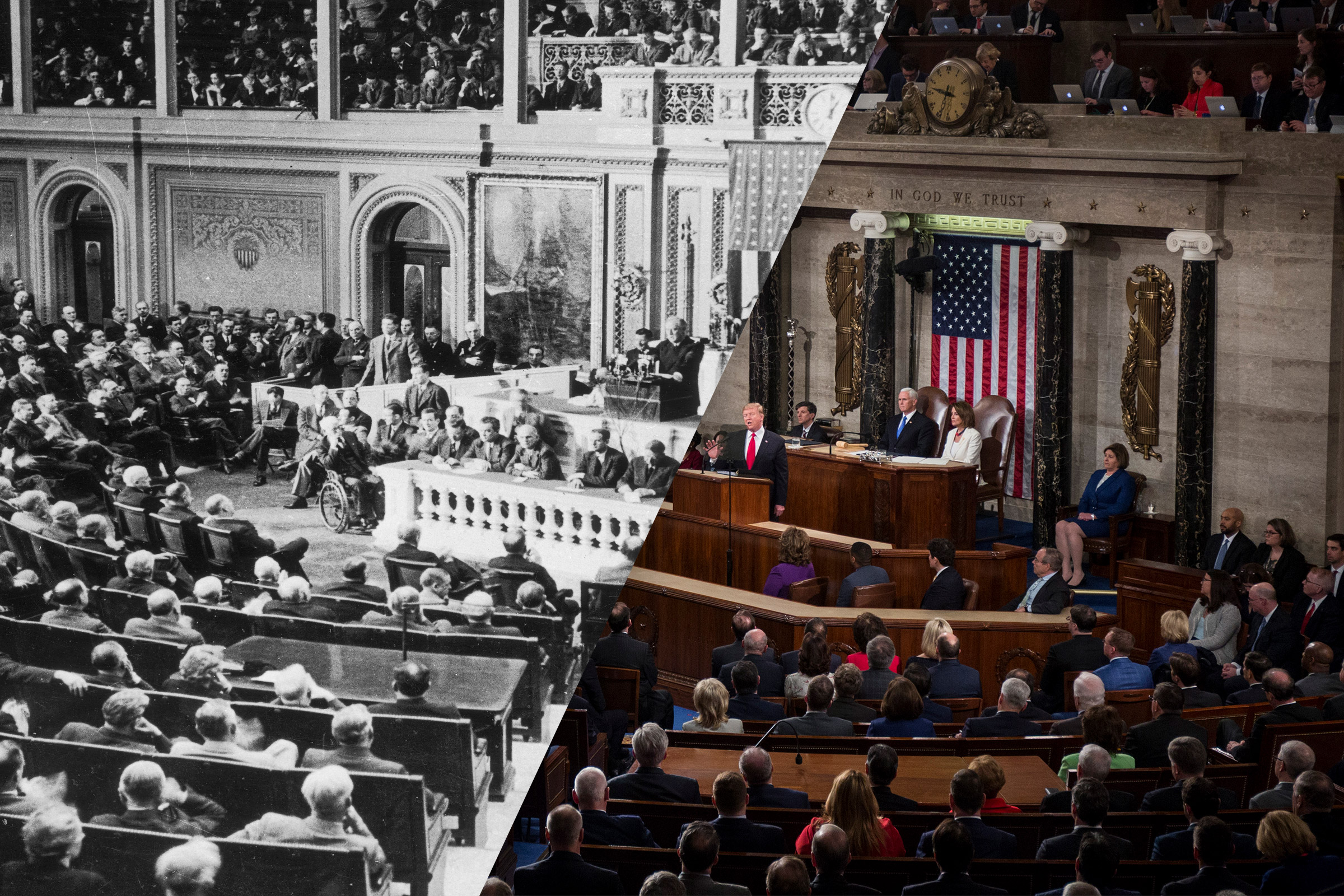 President Franklin D. Roosevelt addressing congress, Dec. 8, 1941; President Donald Trump delivers the State of the Union address, Feb. 5, 2019