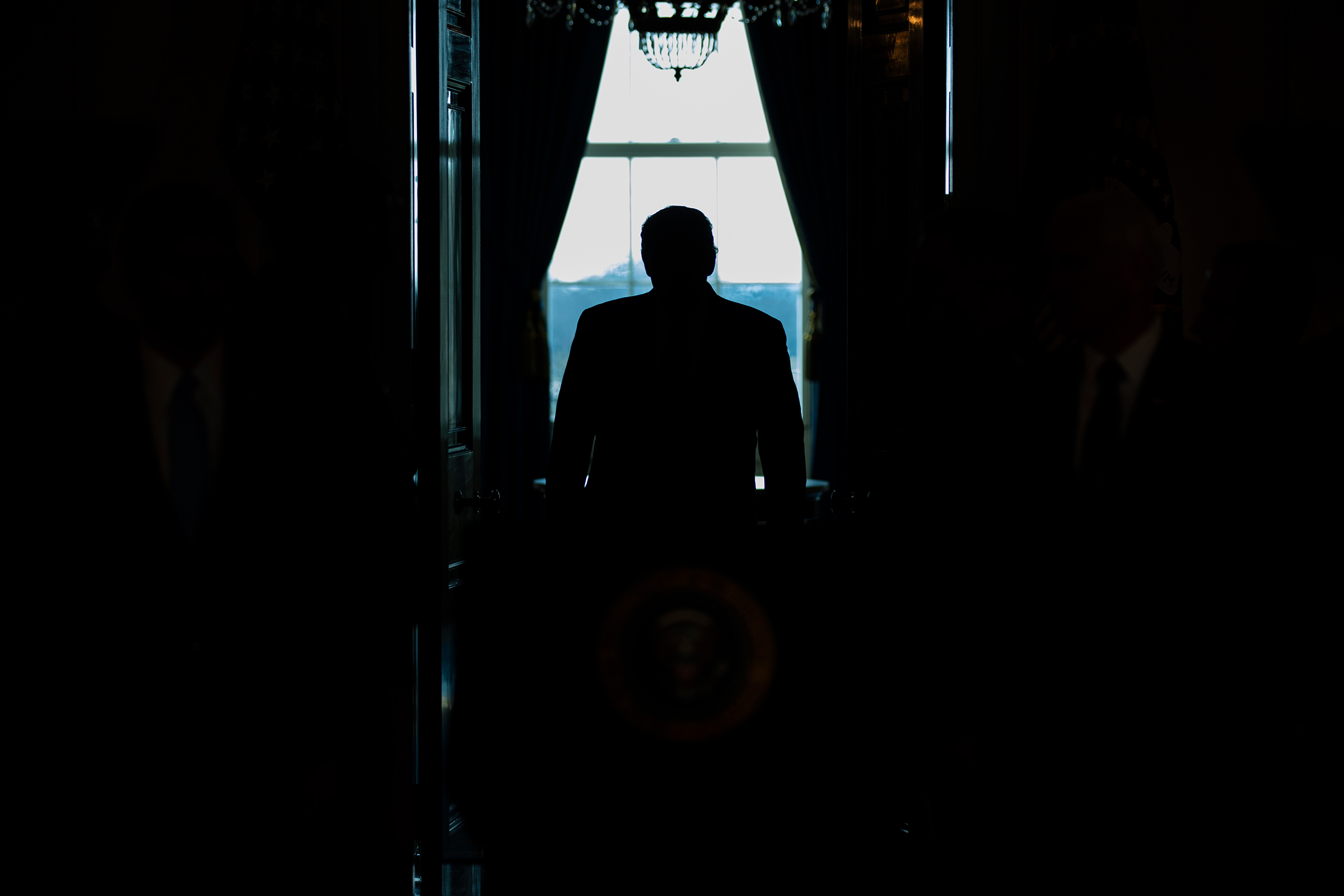 President Trump arrives to address the nation from the White House about Iran on Jan. 8, 2020.