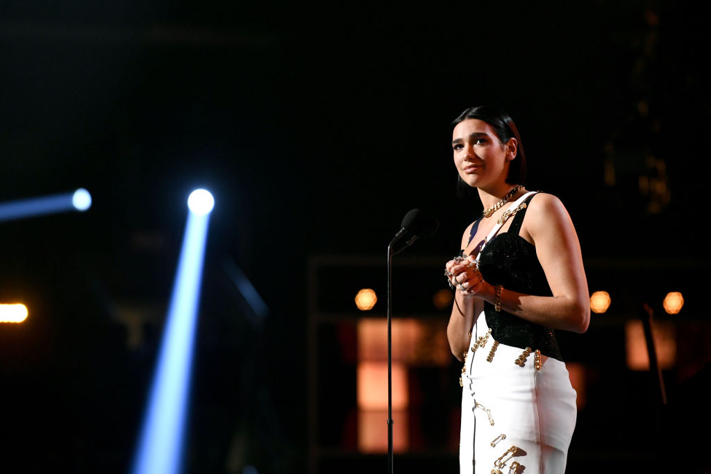 Dua Lipa accepts the Grammy for Best New Artist during the 61st Annual GRAMMY Awards at Staples Center on February 10, 2019 in Los Angeles, California.