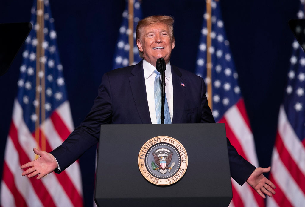 President Donald Trump speaks during a 'Evangelicals for Trump' campaign event held at the King Jesus International Ministry on January 03, 2020 in Miami, Florida.