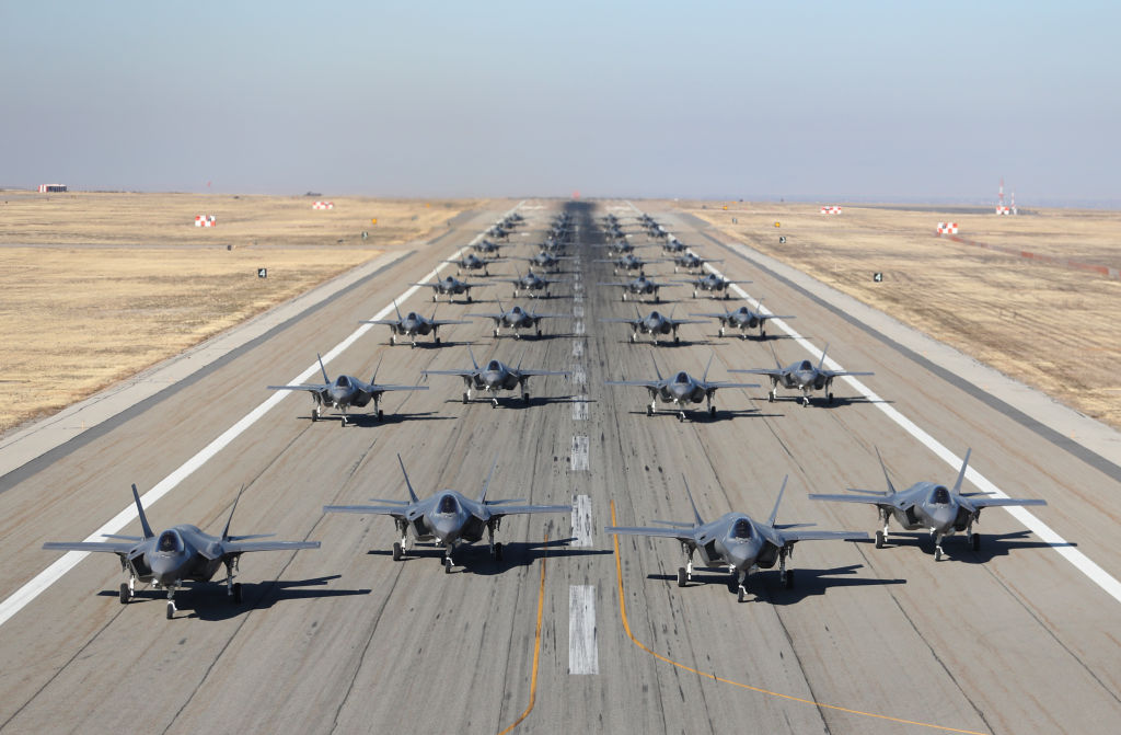 Hill Air Force Bases 388th and 419th fighter wings line up 36, F-35A's on the runway to prepare for take-off on November 19, 2018 in Hill Air Force Base, Utah.