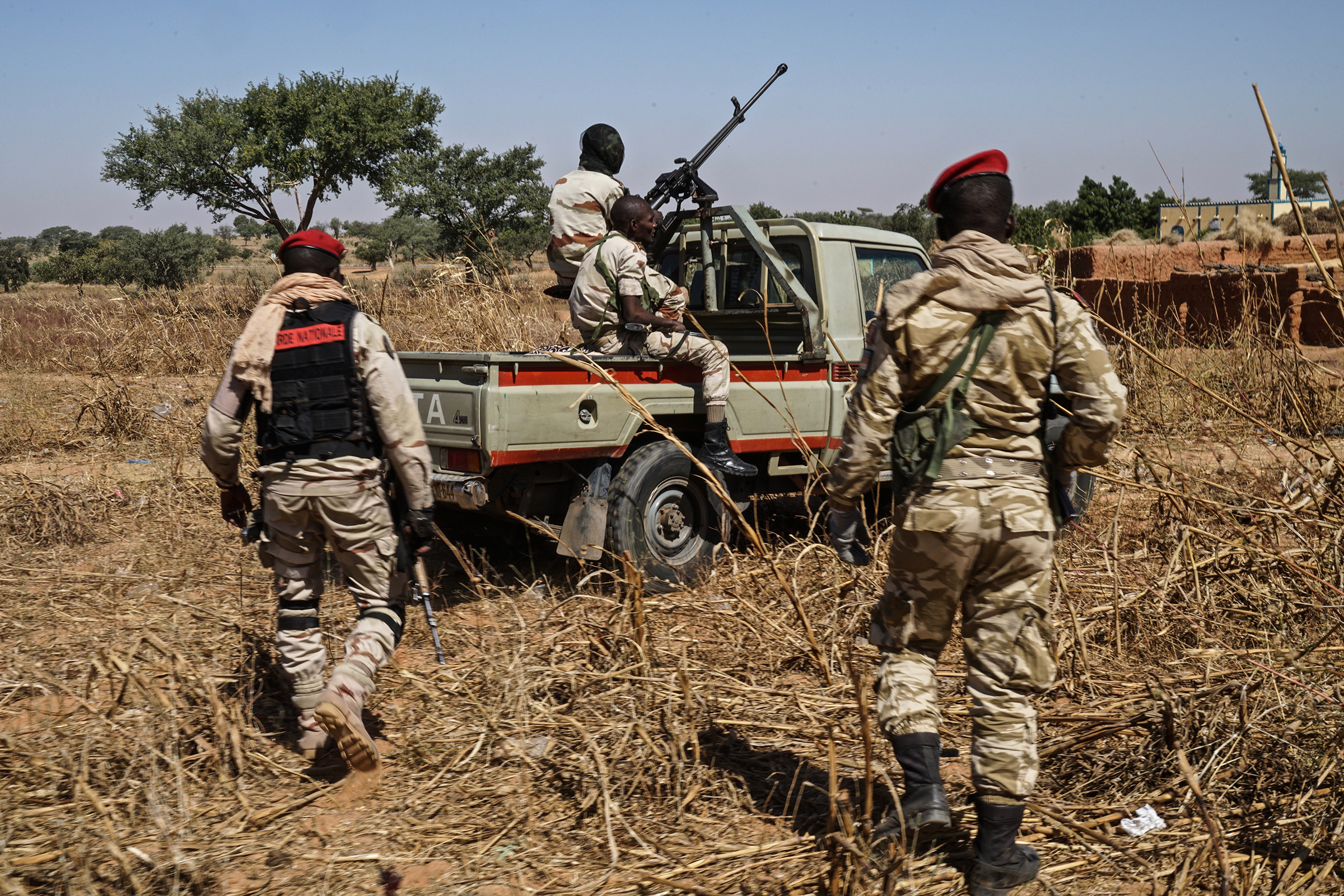 Nigerien Army troops on patrol in southern Niger, close to the Nigerian border.