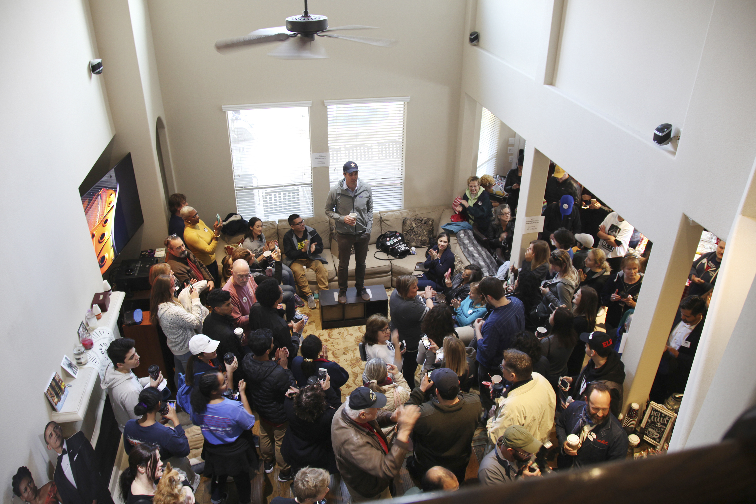 Former congressman, Senate and Presidential candidate Beto O'Rourke speaks before a crowd of campaign volunteers for Eliz Markowitz in Katy, Texas on Jan. 11, 2020.