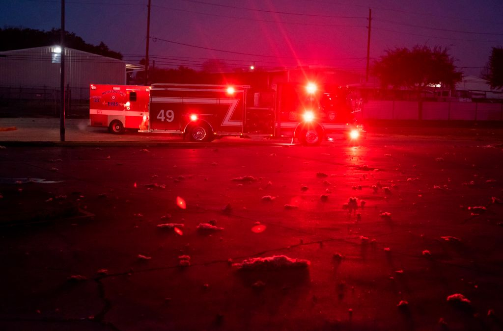 Firefighters and emergency services arrive at a scene of a reported explosion in Houston, Texas, on January 24, 2020.