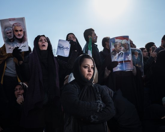 Iranians in Tehran on Jan. 6 publicly mourn the death of Major General Qasem Soleimani