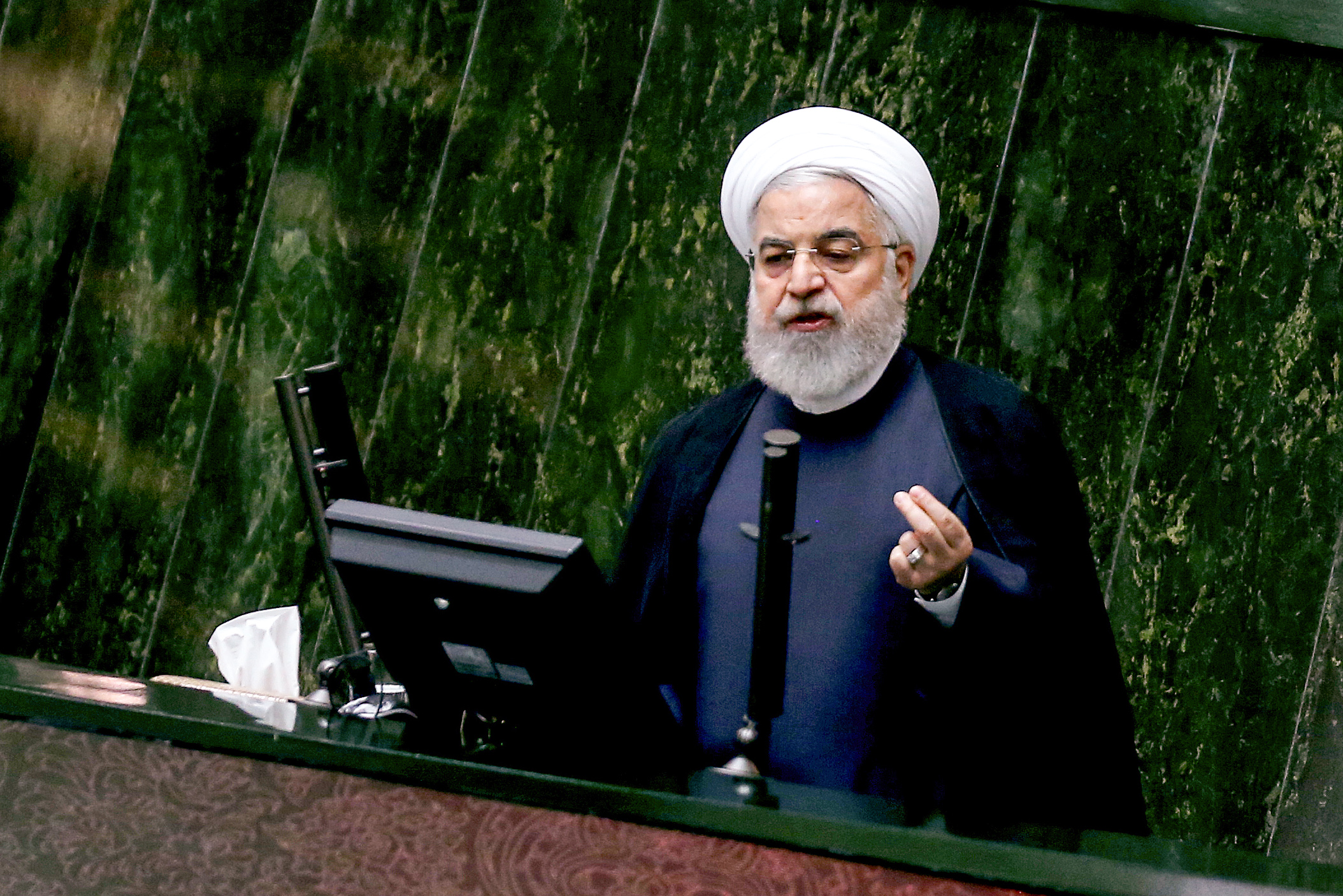 Iran's President Hassan Rouhani speaks at parliament in Tehran on Sept. 3, 2019. Rouhani ruled out holding any bilateral talks with the United States, and added that Iran was ready to further reduce its commitments to a landmark 2015 nuclear deal  in the coming days  if negotiations yielded no results.