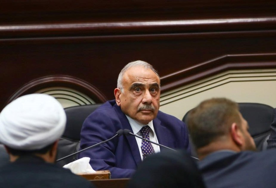 Iraqi Prime Minister Adel Abdul-Mahdi attends an Iraqi parliament session in Baghdad, Iraq on Jan. 5, 2020.
