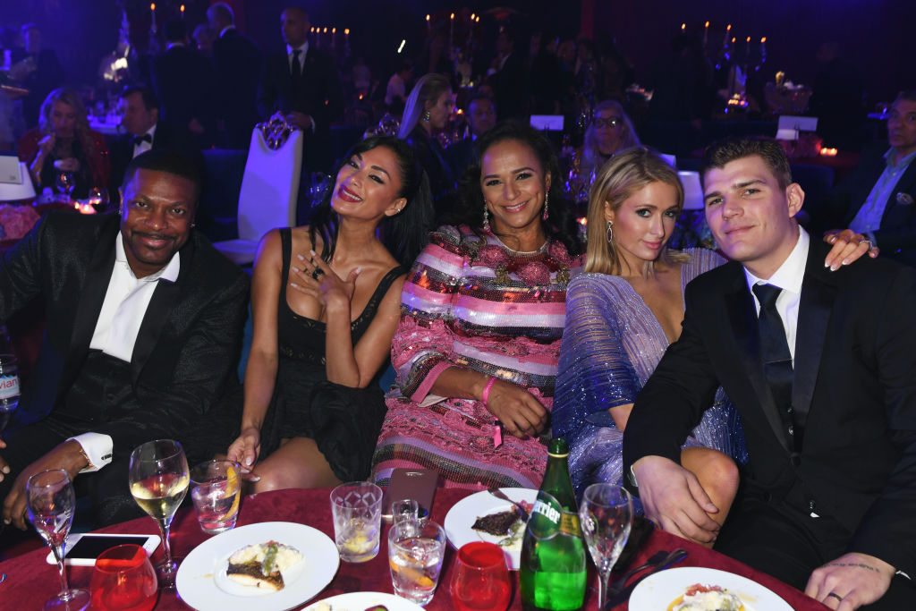 Chris Tucker, Nicole Scherzinger, Isabel dos Santos, Paris Hilton and Chris Zylka attends the de Grisogono party during the 71st annual Cannes Film Festival at Villa des Oliviers on May 15, 2018 in Cap d'Antibes, France.