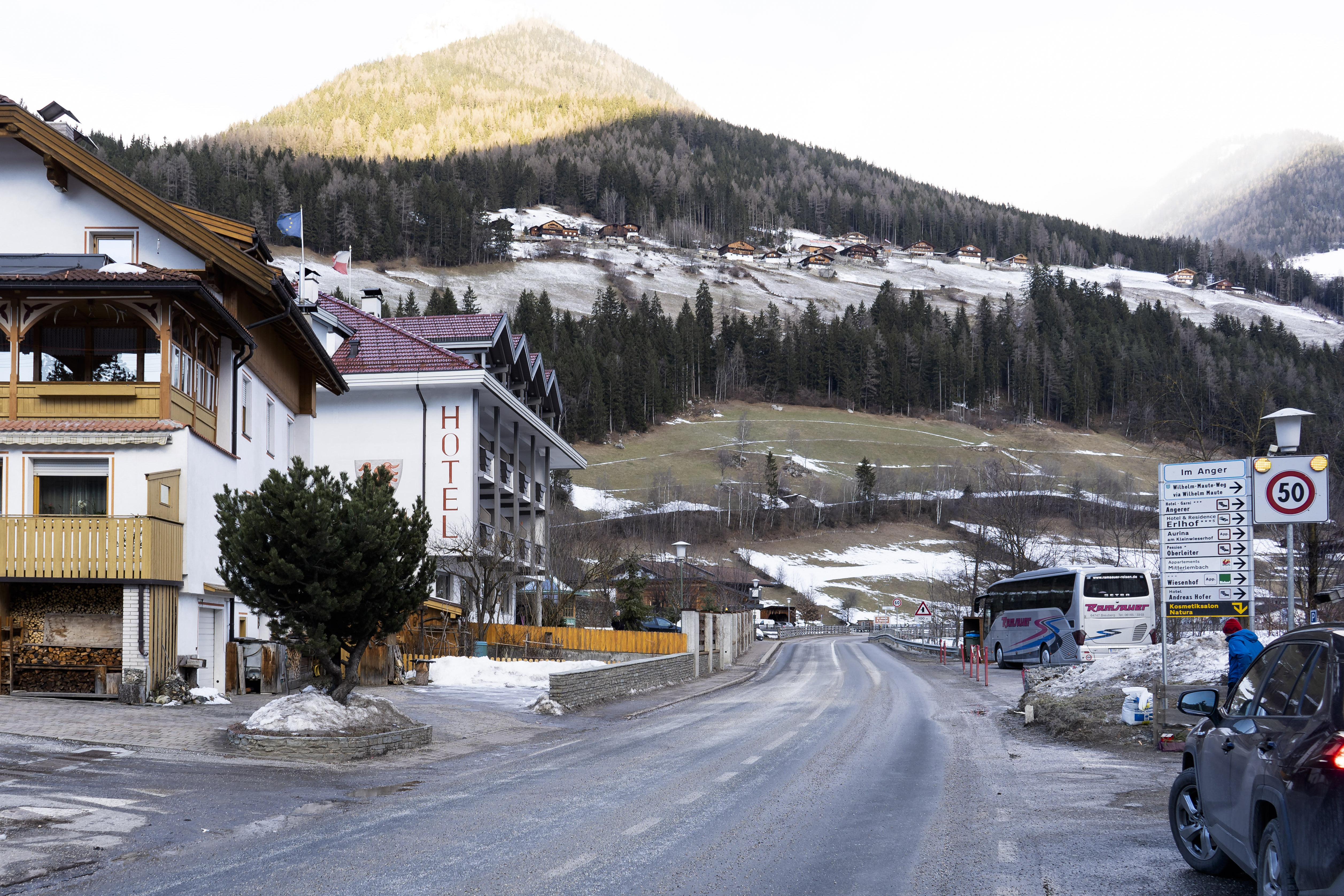 General view on a street where a car had plowed into a group of people in Luttach, near Bruneck in the northern region South Tirol, Italy, on Jan. 5, 2020.