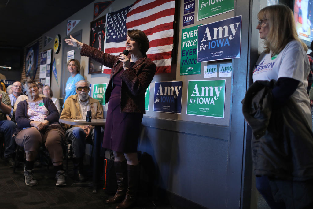Klobuchar speaks during a campaign stop at Miller's Sports Bar and Restaurant on December 27, 2019 in Algona, Iowa.