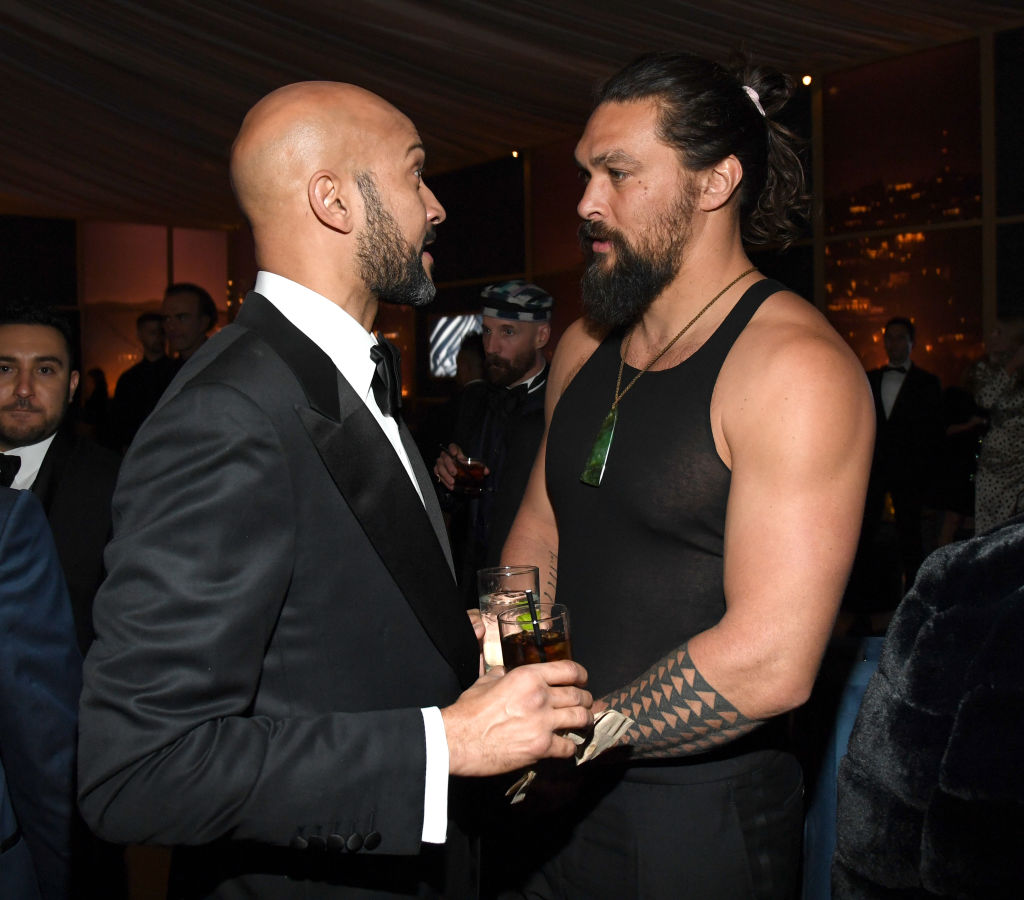 Keegan-Michael Key and Jason Momoa attends The 2020 InStyle And Warner Bros. 77th Annual Golden Globe Awards Post-Party at The Beverly Hilton Hotel on January 5, 2020 in Beverly Hills, California.