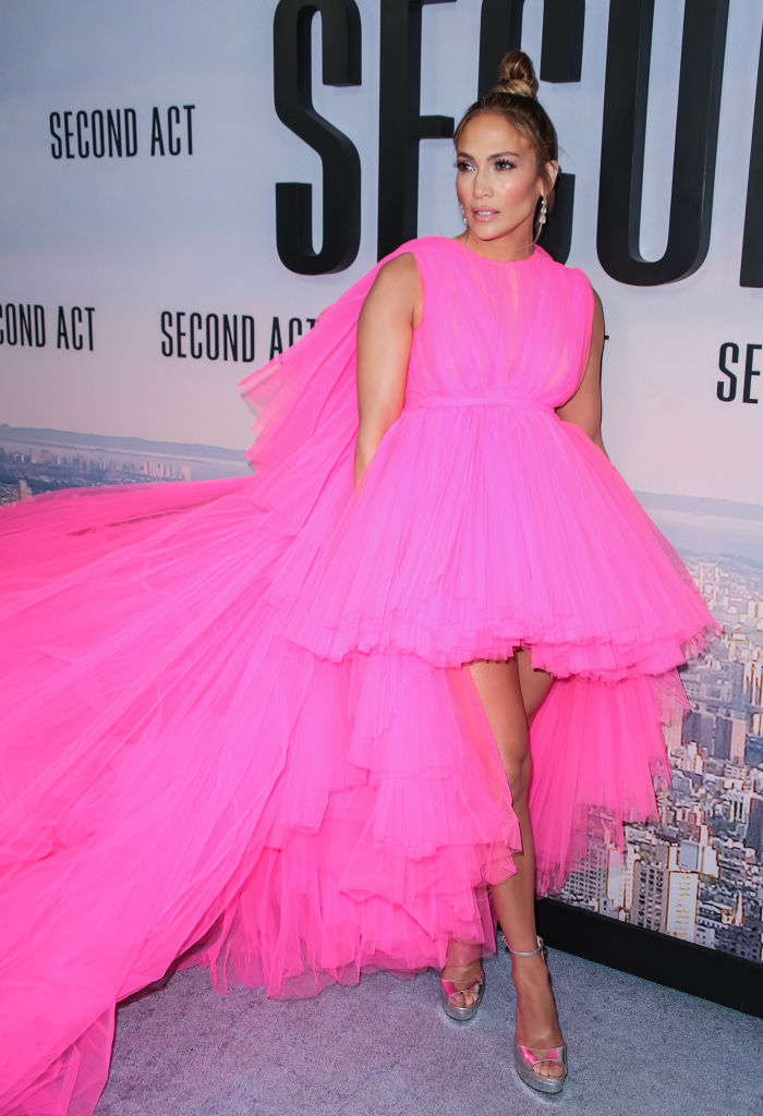 Jennifer Lopez wearing a gown by Giambattista Valli at the premiere of 'Second Act' at Regal Union Square Theatre.