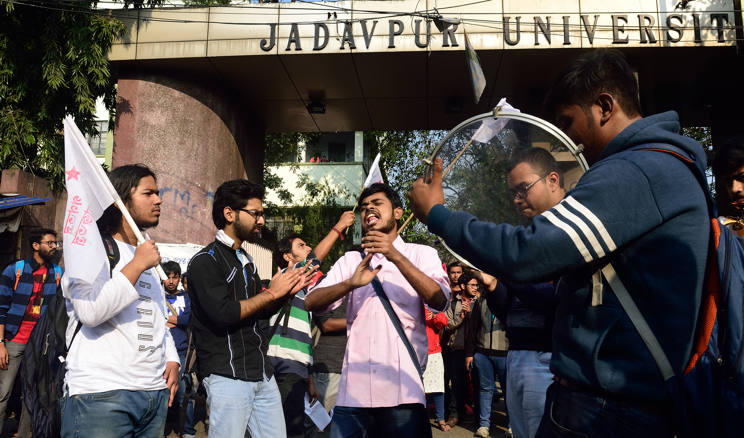 Students shout slogans during protests against the attack on the students of Jawaharlal Nehru University (JNU) in New Delhi on Jan. 6, 2020.