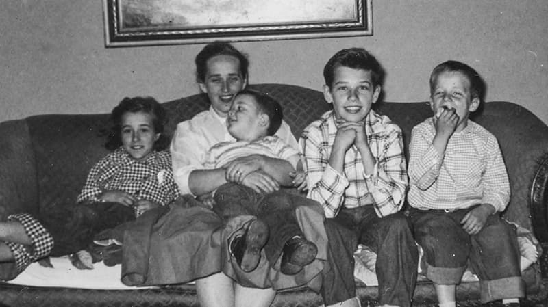 The Bidens at their family home in the 1950s; Joe is second from the right