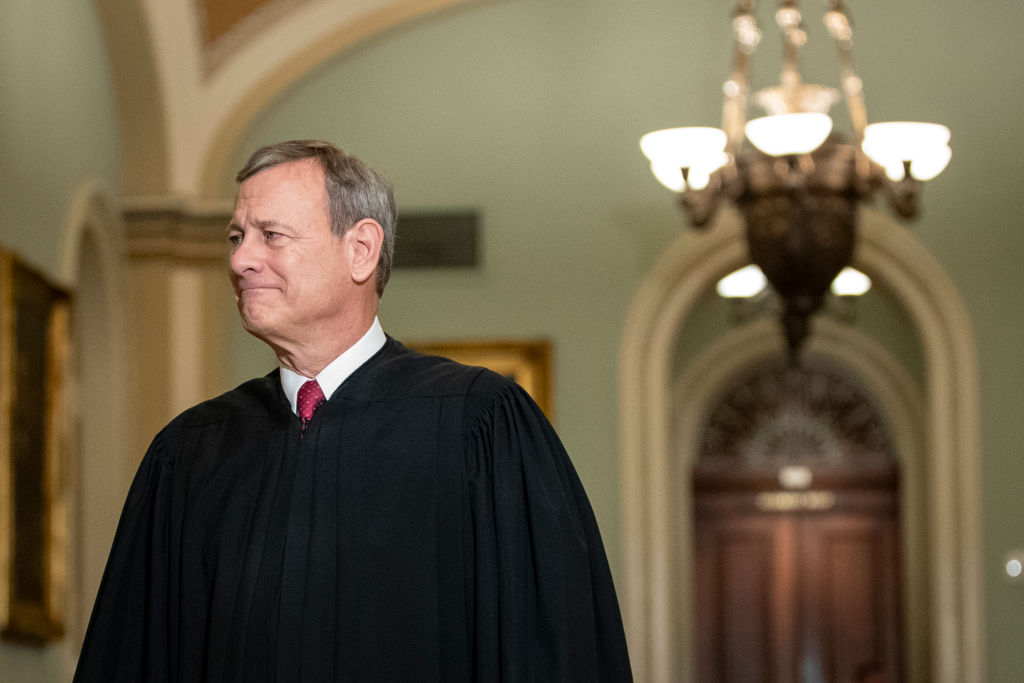 Supreme Court Chief Justice John Roberts arrives to the Senate chamber for impeachment proceedings at the U.S. Capitol on Jan. 16, 2020 in Washington, D.C.