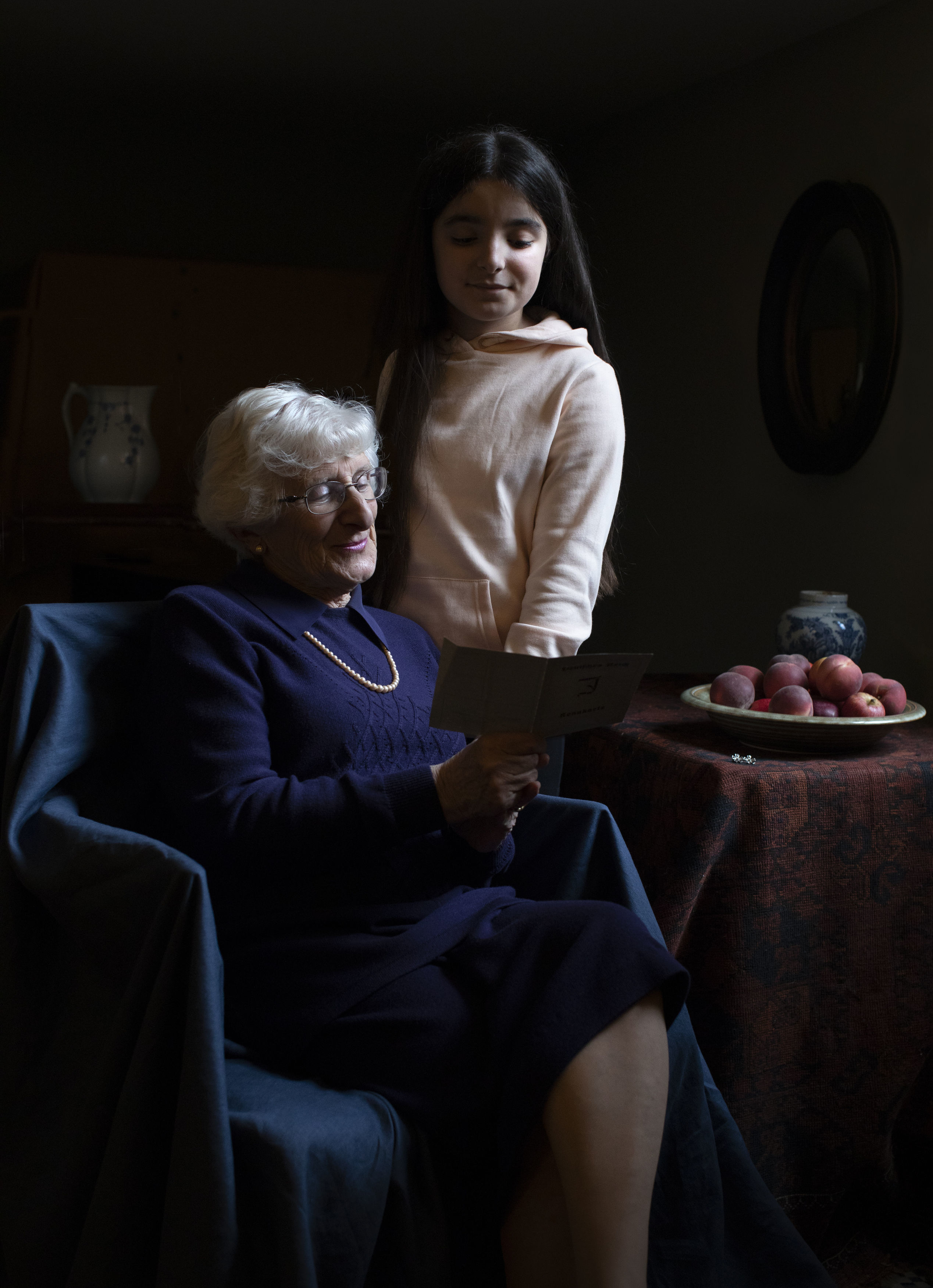 In this photo taken by Kate Middleton, Duchess of Cambridge and made available on Jan. 26, 2020, Yvonne Bernstein, originally from Germany, who was a hidden child in France throughout most of the Holocaust, is pictured with her granddaughter Chloe Wright, aged 11.