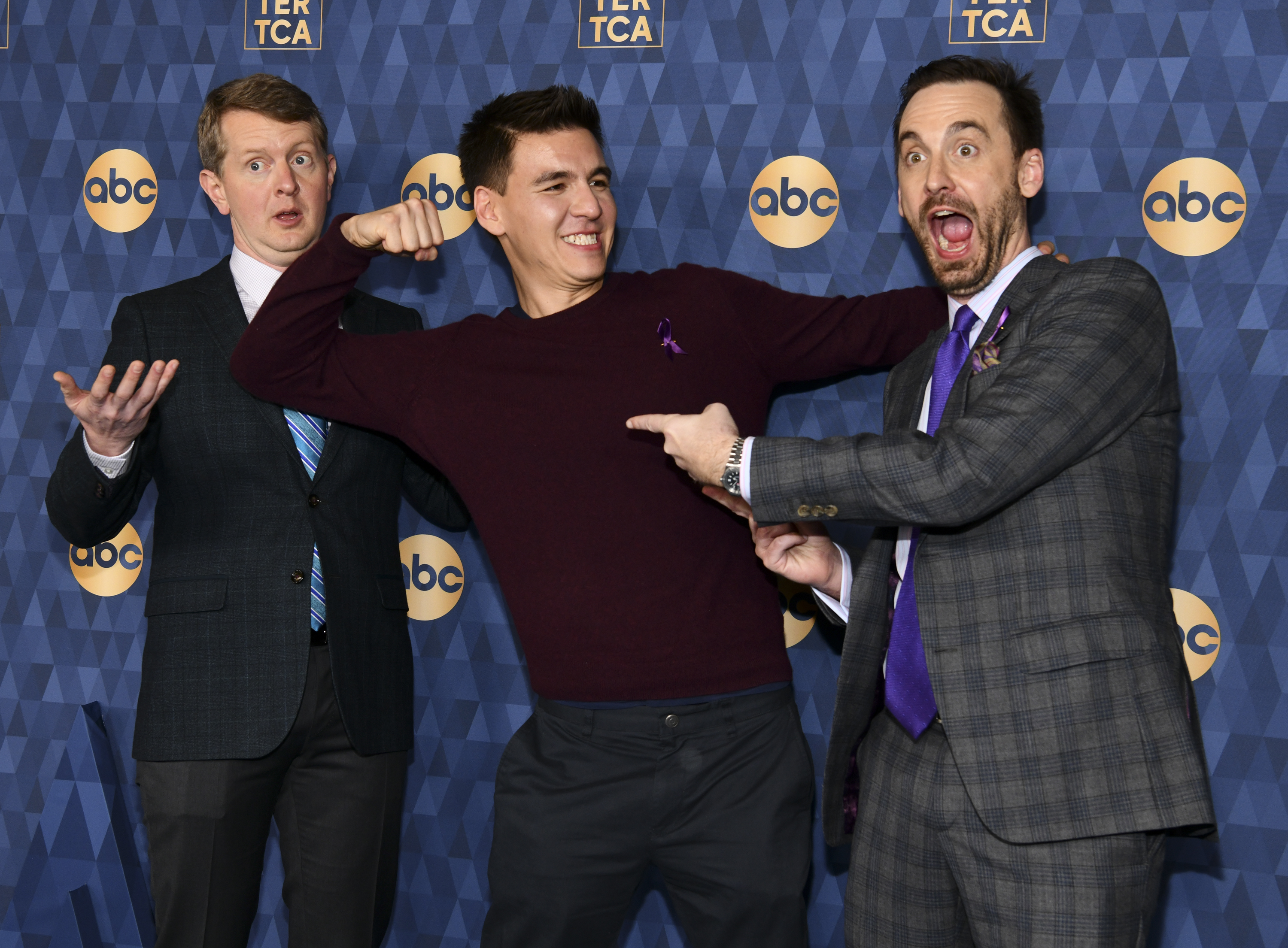 Ken Jennings, James Holzhauer, and Brad Rutter attend the ABC Television's 2020 Winter Press Tour on Jan. 8, 2020 in Pasadena, California.