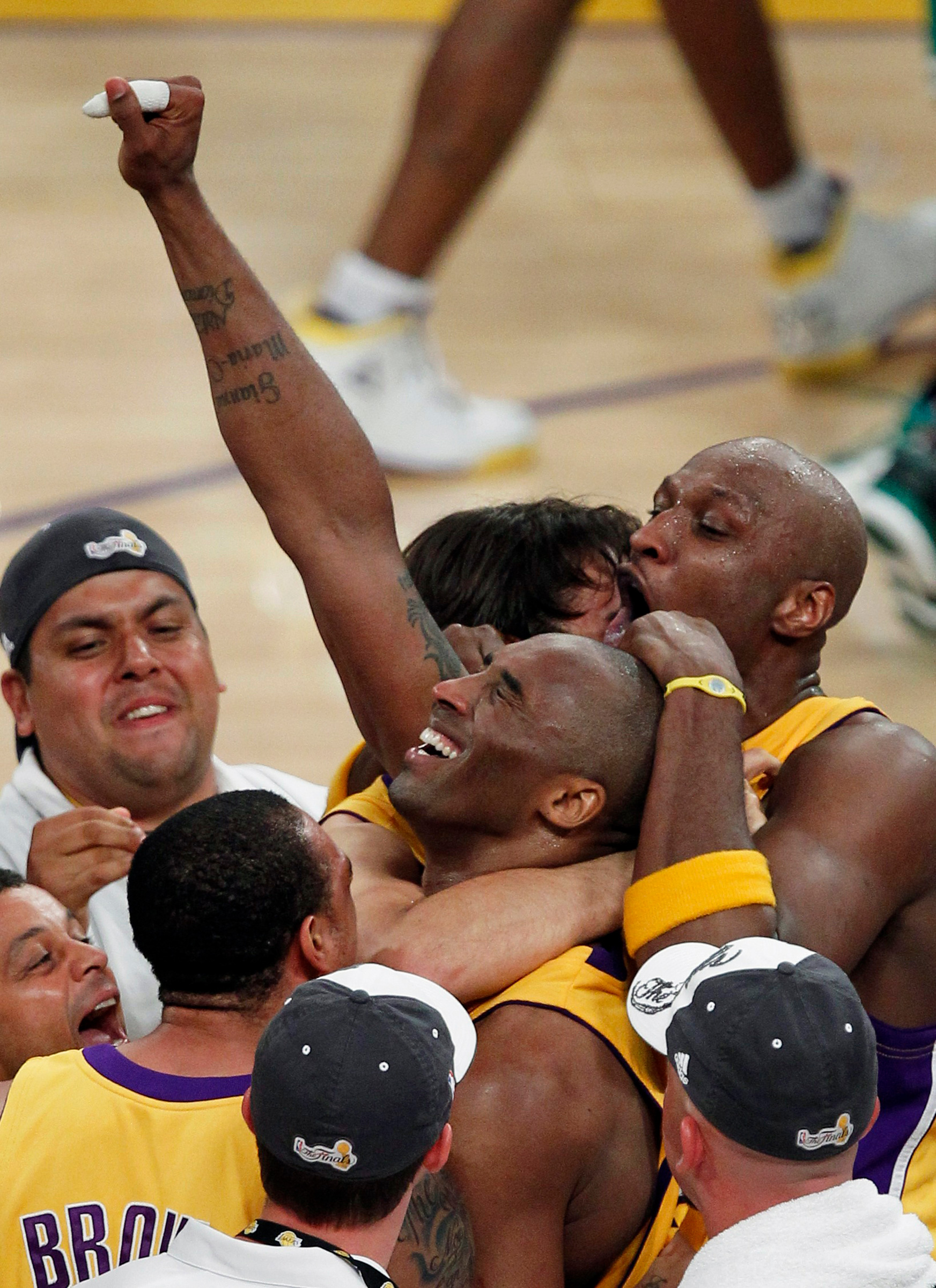 Bryant celebrates the 2010 NBA championship, after the Lakers defeated the Boston Celtics in Game 7