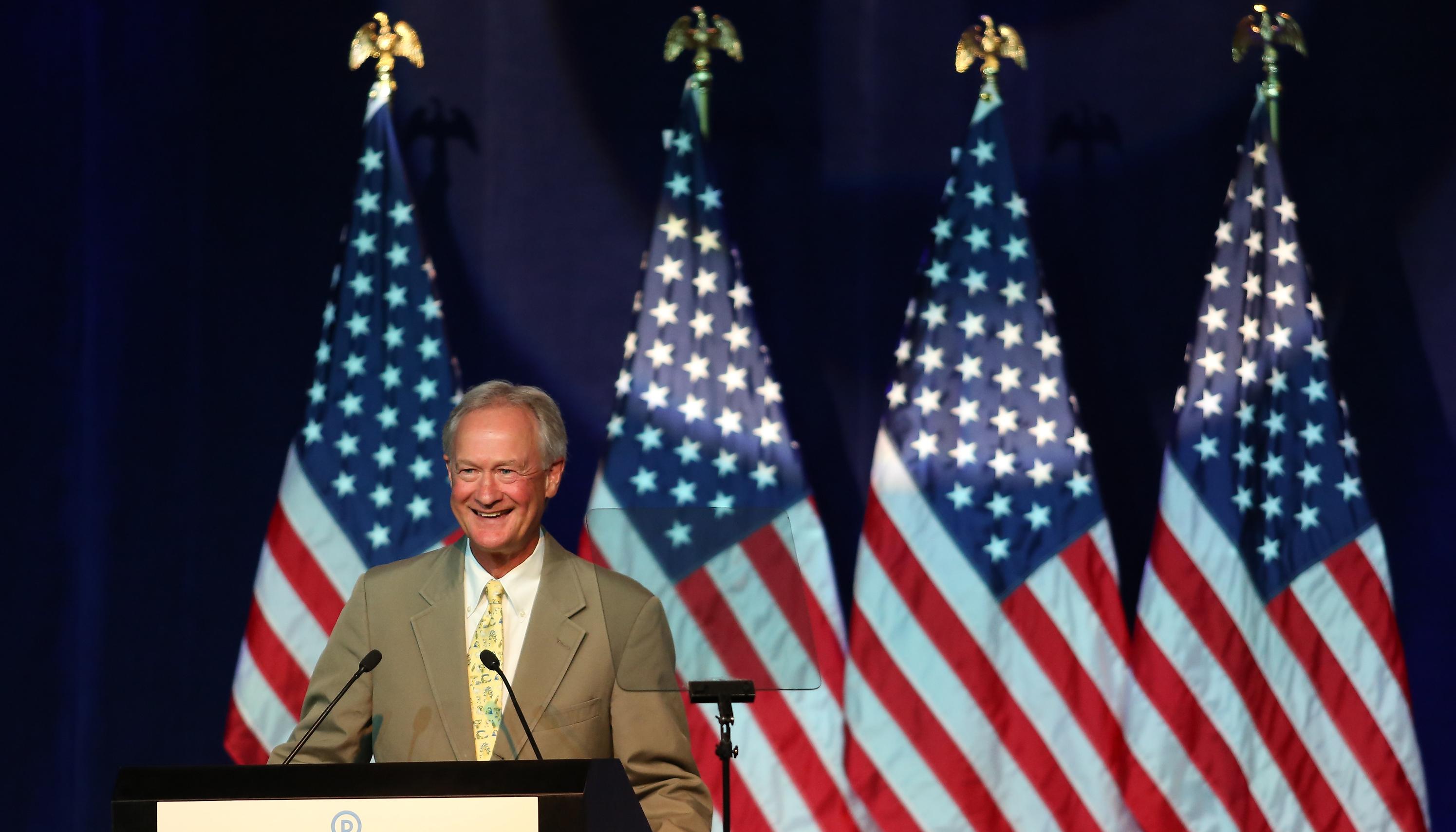 Lincoln Chafee speaks at the Democratic National Committee summer meeting on Aug. 28, 2015 in Minneapolis, Minnesota.